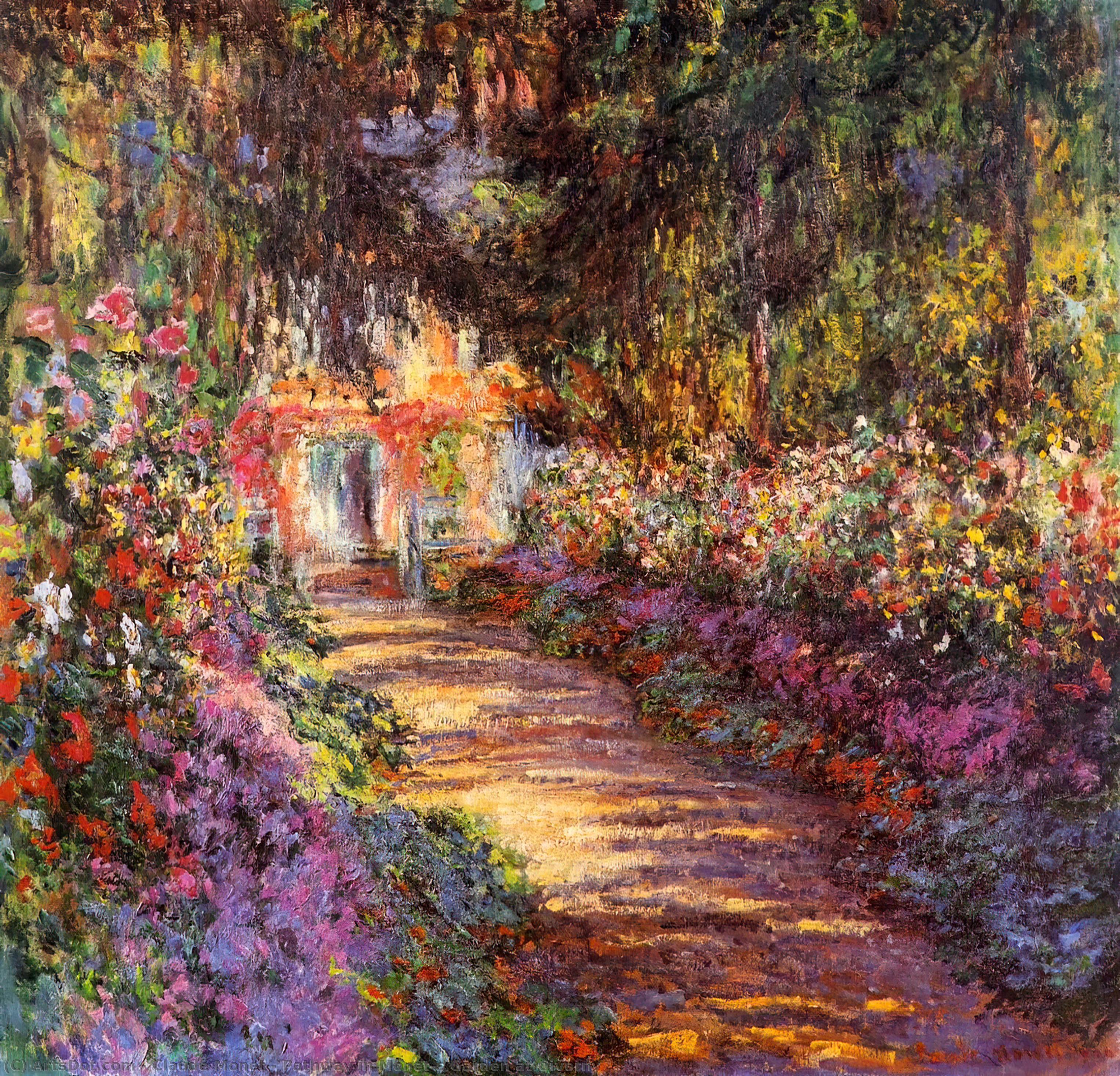 Wikoo.org - موسوعة الفنون الجميلة - اللوحة، العمل الفني Claude Monet - Pathway in Monet's Garden at Giverny