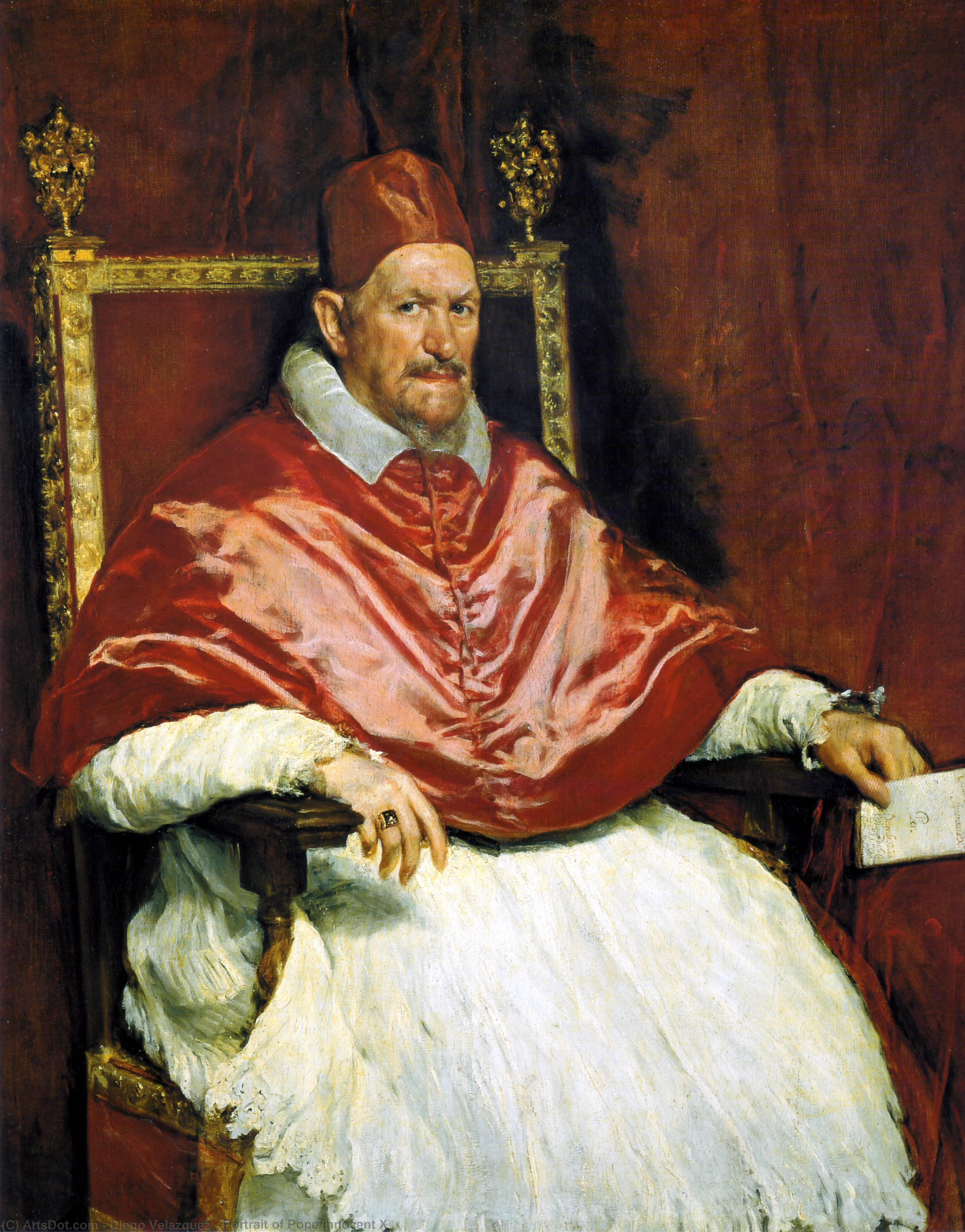 Wikioo.org - The Encyclopedia of Fine Arts - Painting, Artwork by Diego Velazquez - Portrait of Pope Innocent X