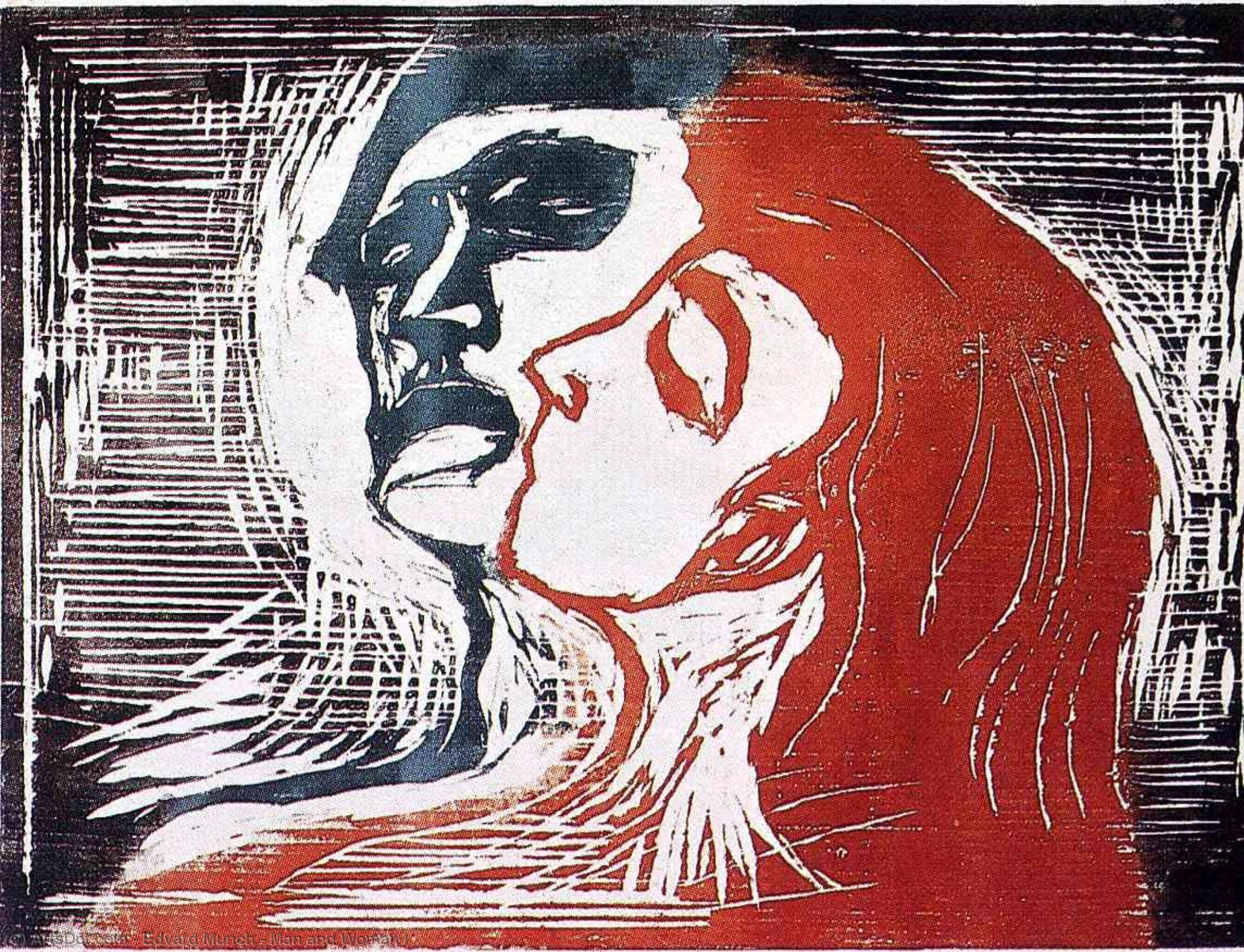 WikiOO.org - Encyclopedia of Fine Arts - Schilderen, Artwork Edvard Munch - Man and Woman I