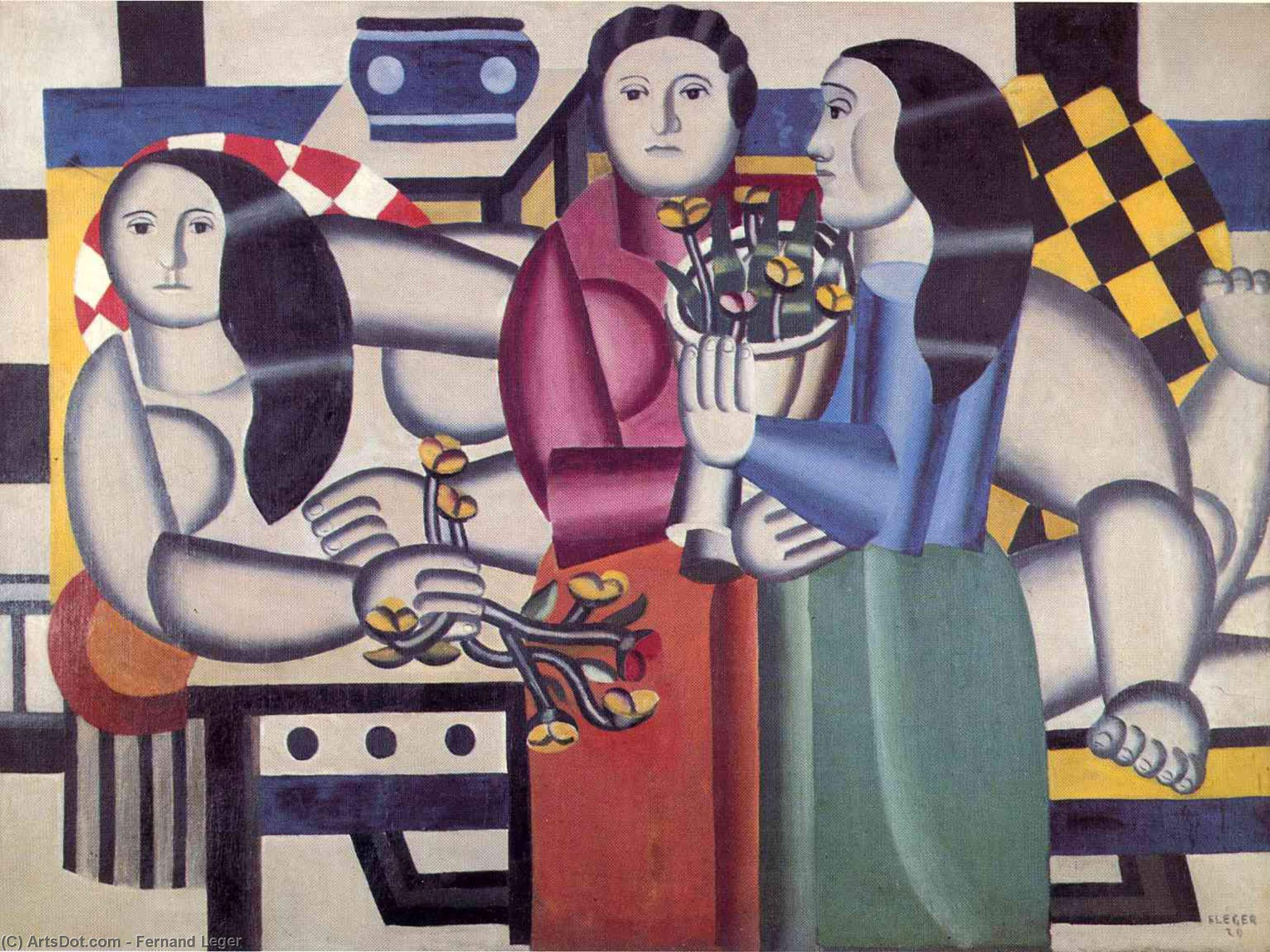 three women with flowers fernand leger wikioo org the