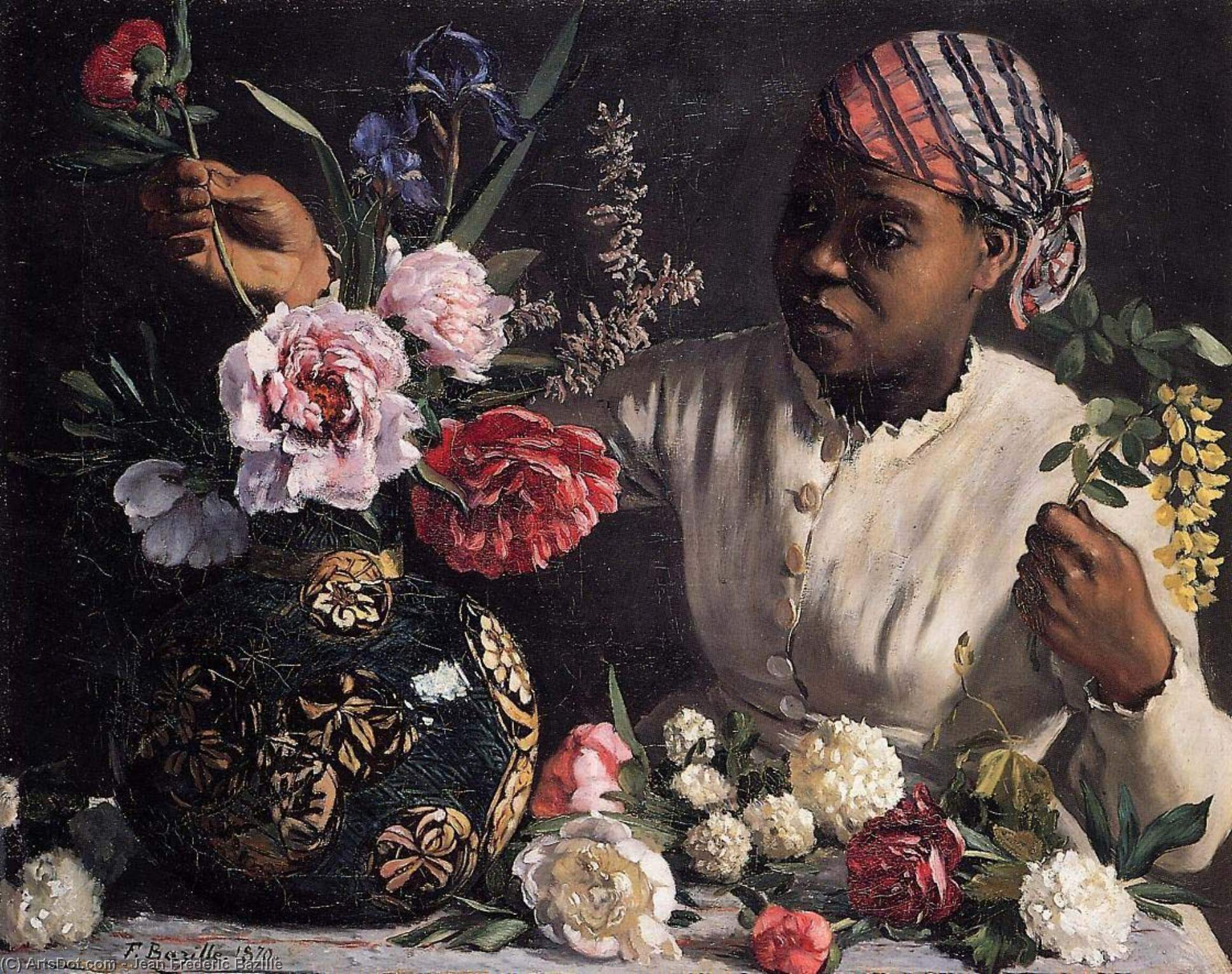 Wikioo.org - The Encyclopedia of Fine Arts - Painting, Artwork by Jean Frederic Bazille - Negress with Peonies