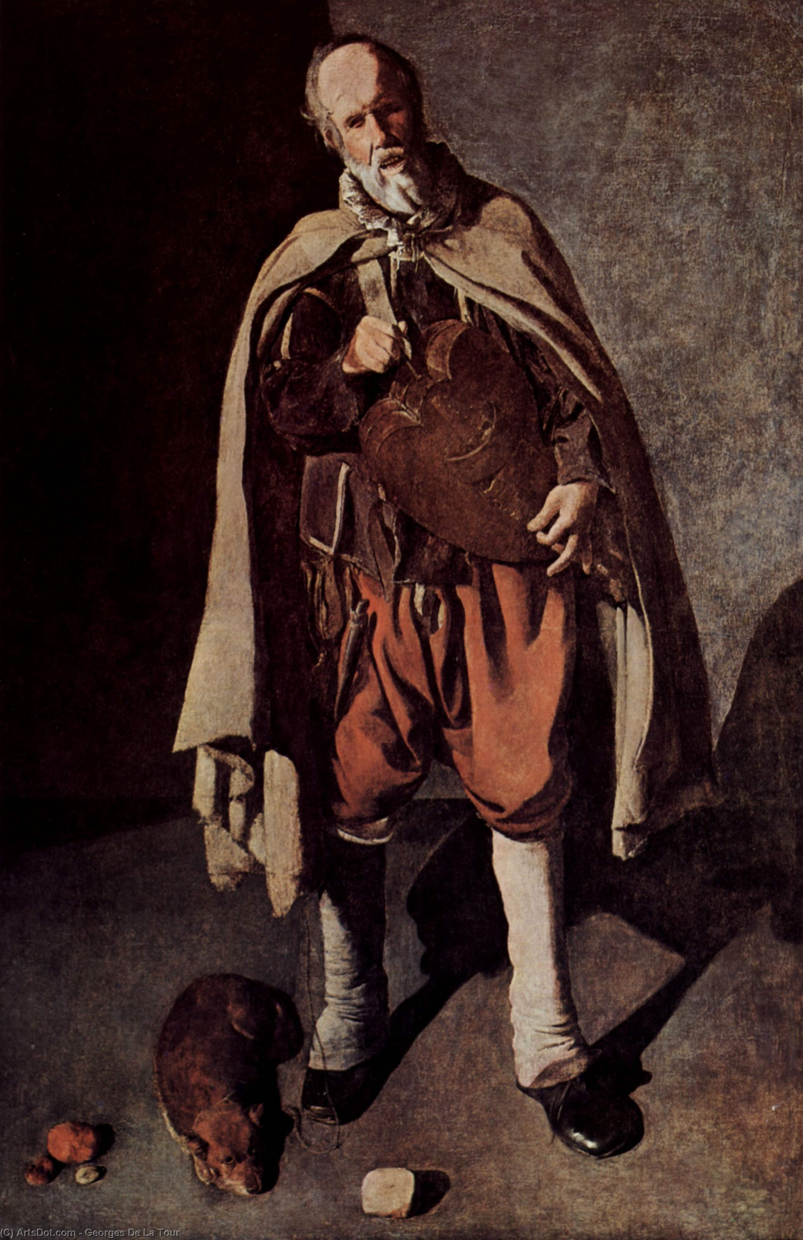 Wikioo.org - The Encyclopedia of Fine Arts - Painting, Artwork by Georges De La Tour - The Hurdy-Gurdy Player with a Dog