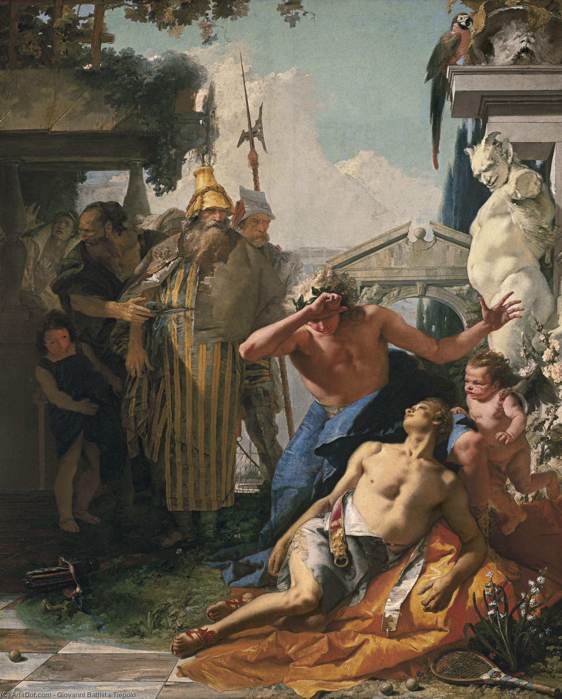 Wikioo.org - The Encyclopedia of Fine Arts - Painting, Artwork by Giovanni Battista Tiepolo - The Death of Hyacinthus