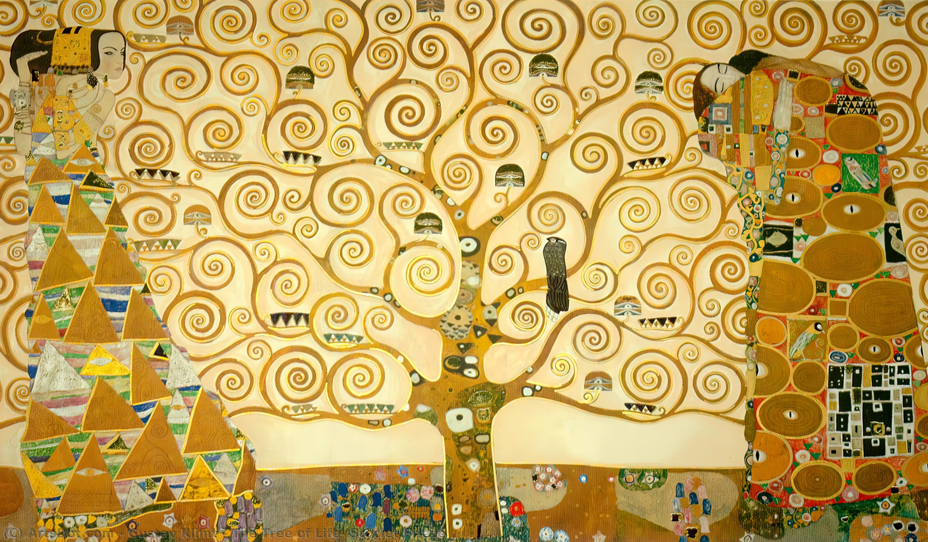 Wikioo.org - The Encyclopedia of Fine Arts - Painting, Artwork by Gustav Klimt - The Tree of Life, Stoclet Frieze