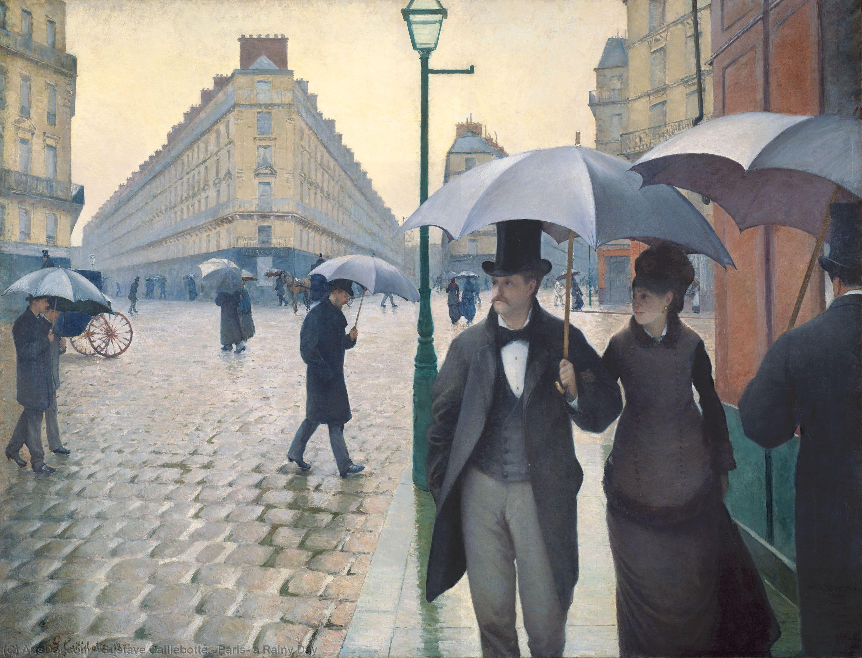 Wikioo.org - The Encyclopedia of Fine Arts - Painting, Artwork by Gustave Caillebotte - Paris, a Rainy Day