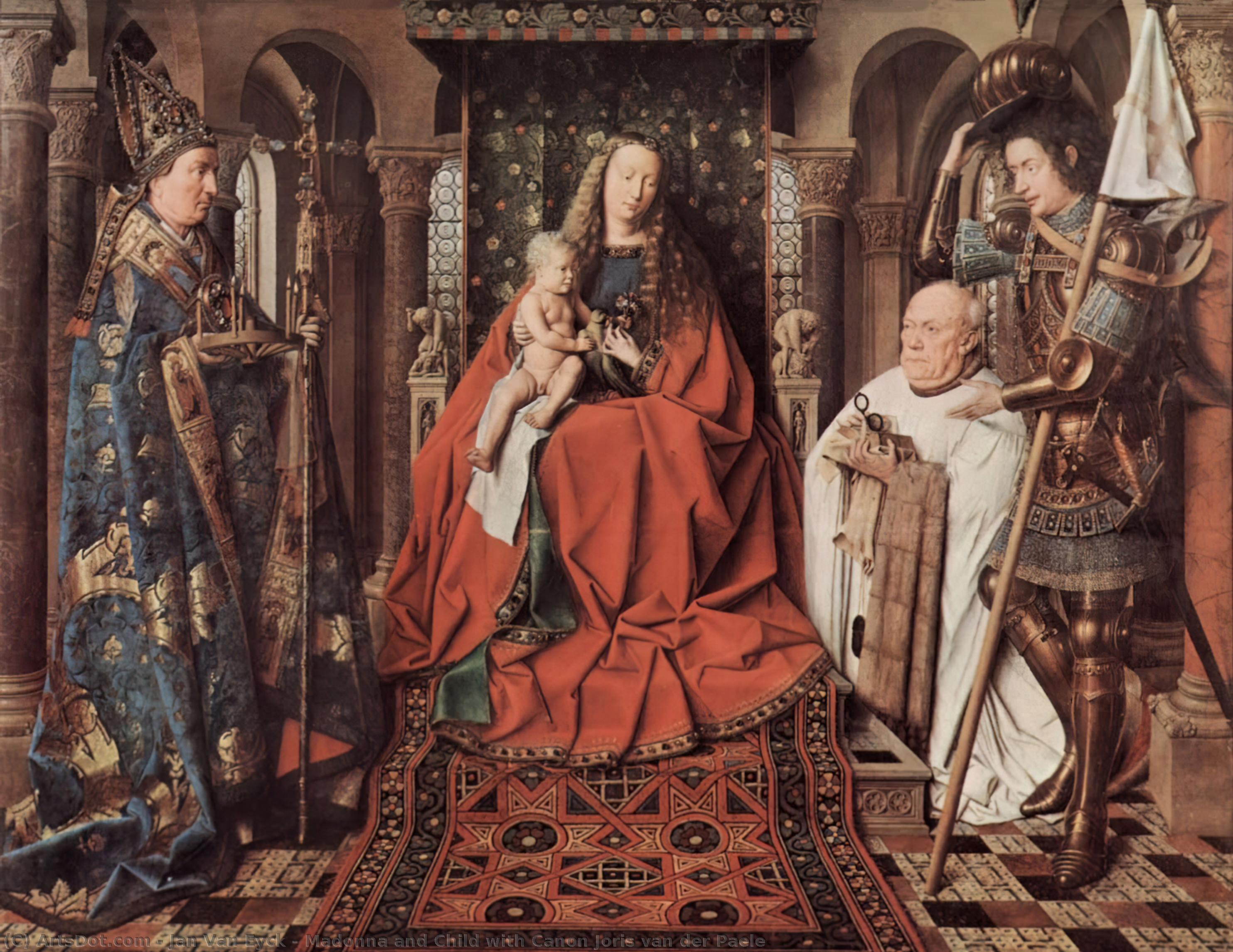 Wikioo.org - The Encyclopedia of Fine Arts - Painting, Artwork by Jan Van Eyck - Madonna and Child with Canon Joris van der Paele