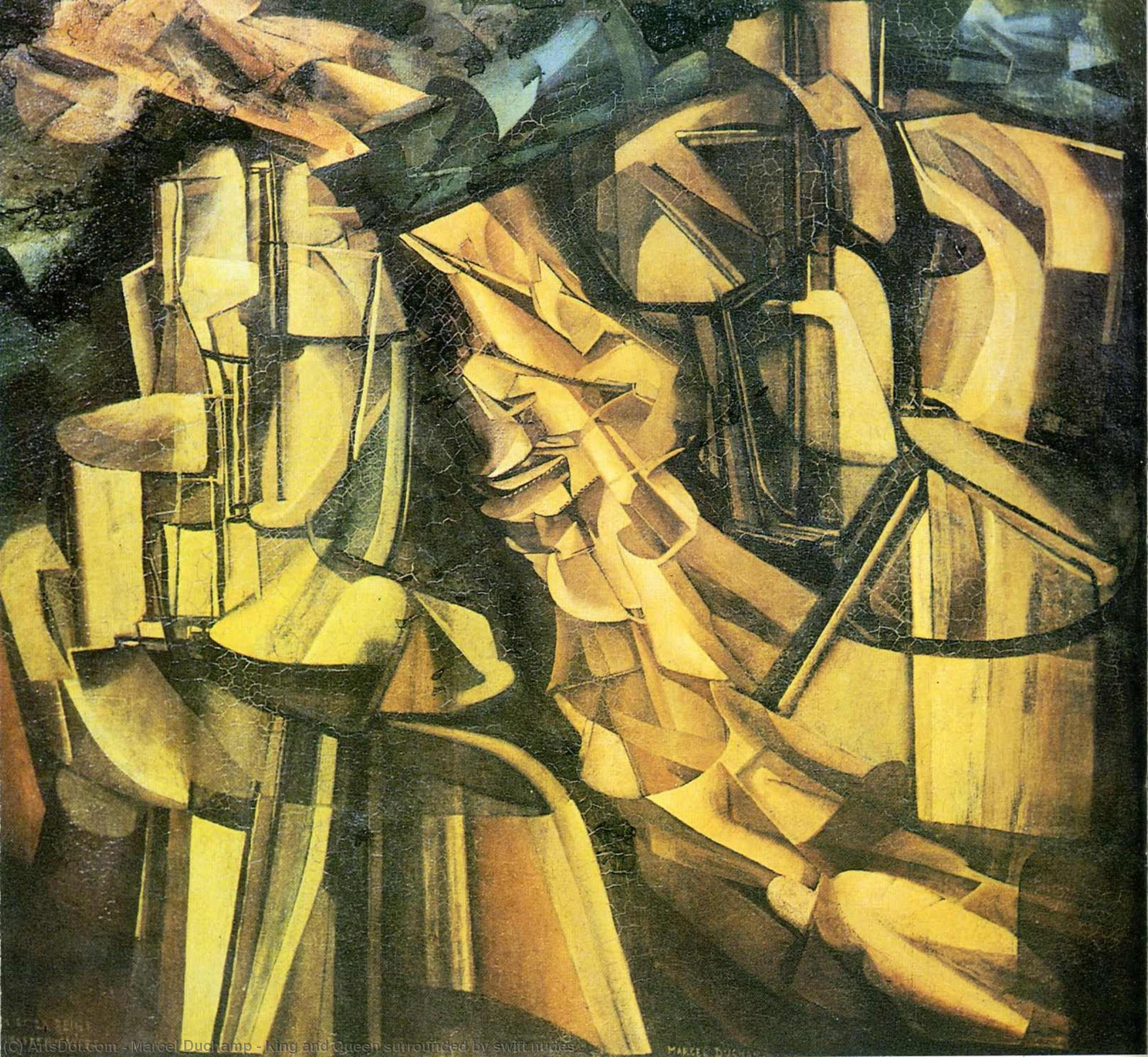 Wikioo.org - The Encyclopedia of Fine Arts - Painting, Artwork by Marcel Duchamp - King and Queen surrounded by swift nudes