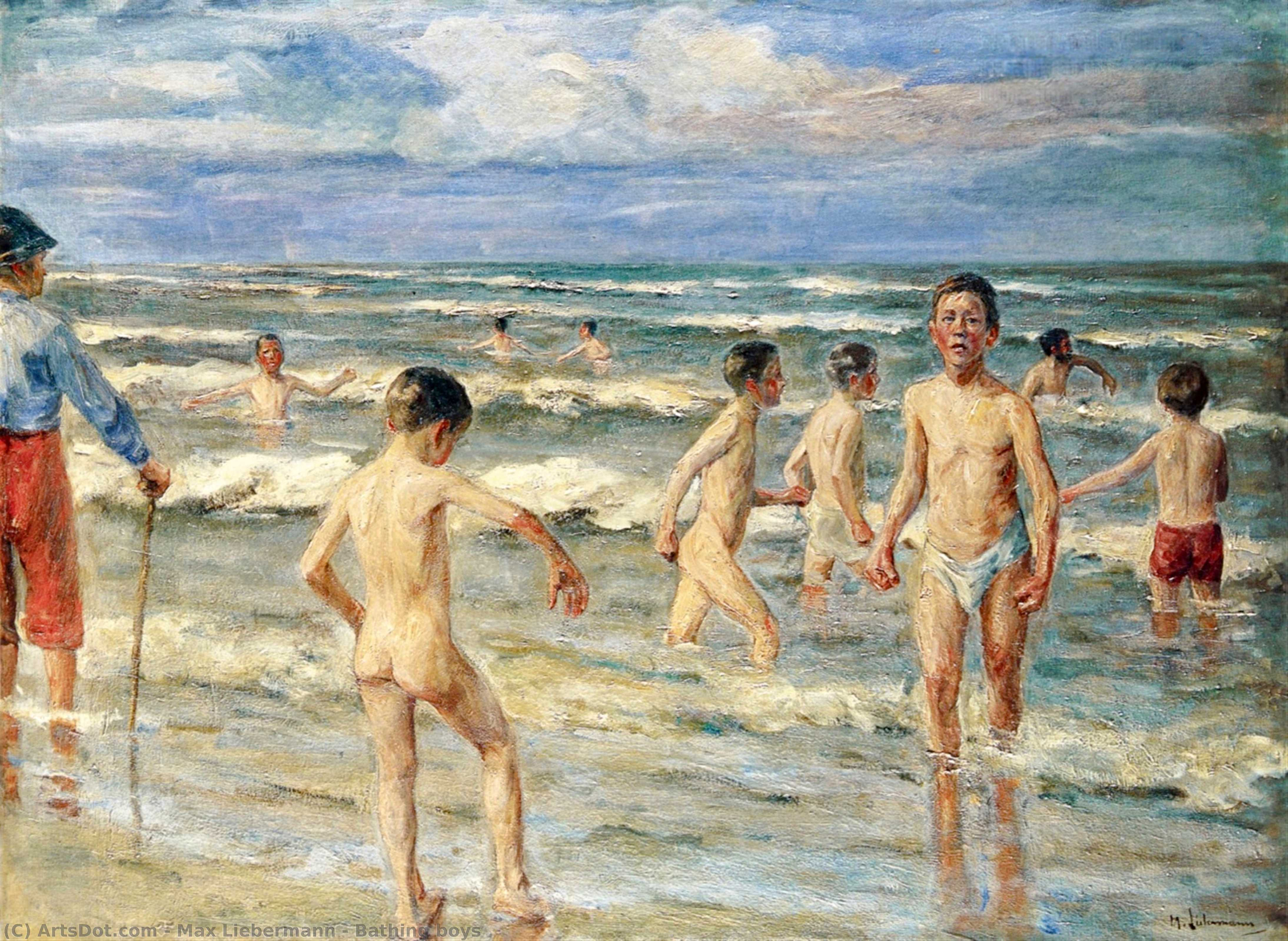 Wikioo.org - The Encyclopedia of Fine Arts - Painting, Artwork by Max Liebermann - Bathing boys