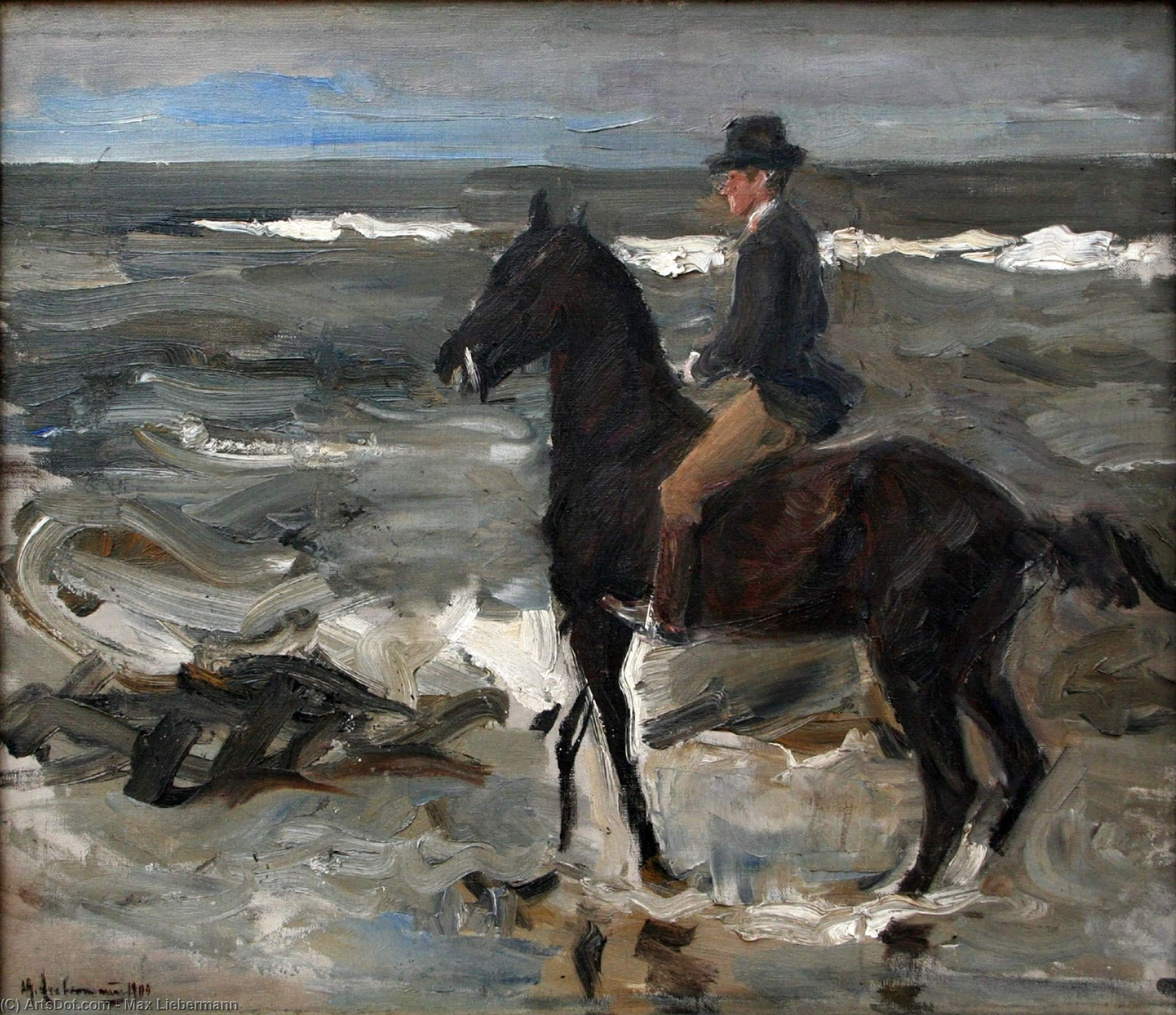 Wikioo.org - The Encyclopedia of Fine Arts - Painting, Artwork by Max Liebermann - Rider on the Beach