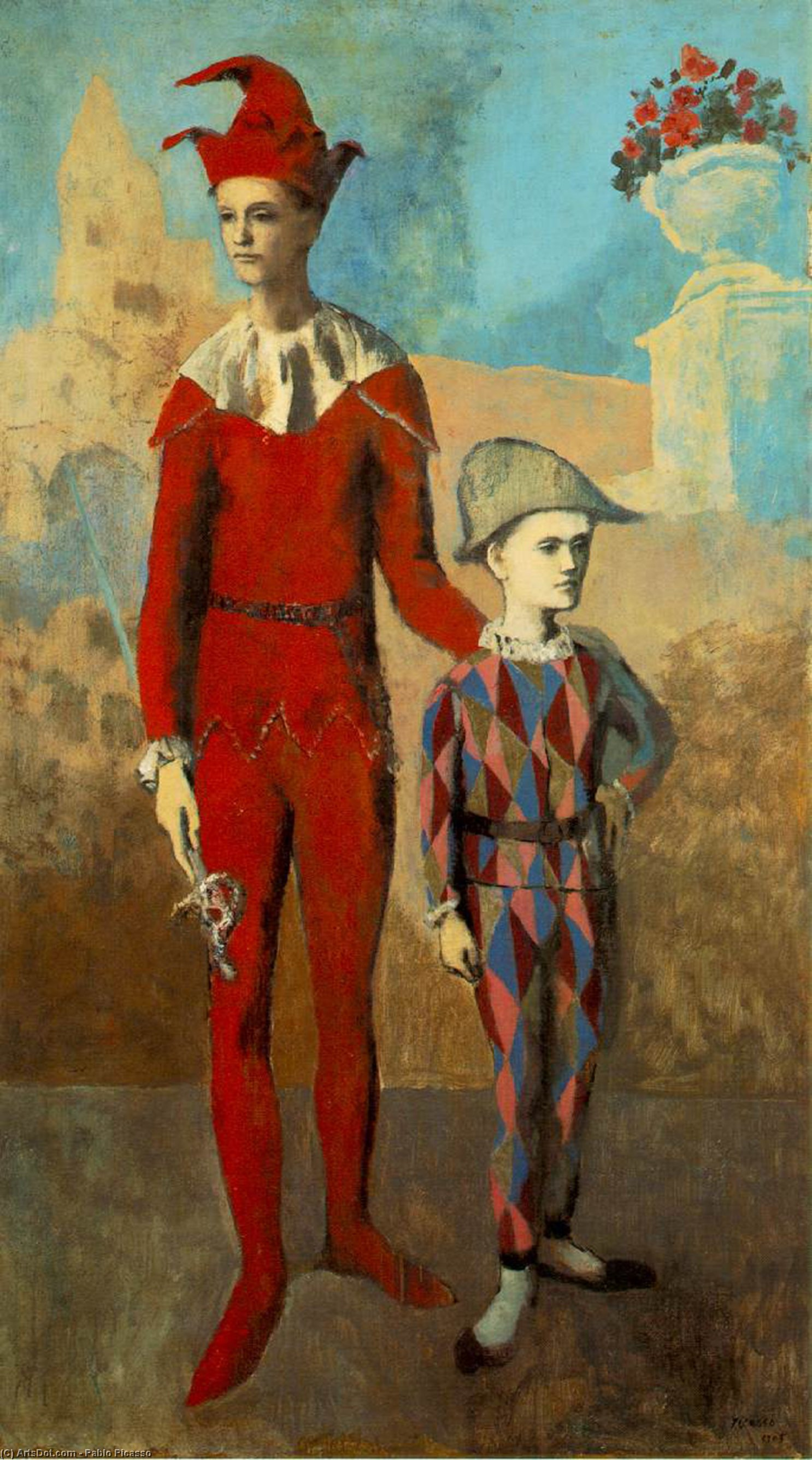 Wikioo.org - The Encyclopedia of Fine Arts - Painting, Artwork by Pablo Picasso - Acrobat and young harlequin