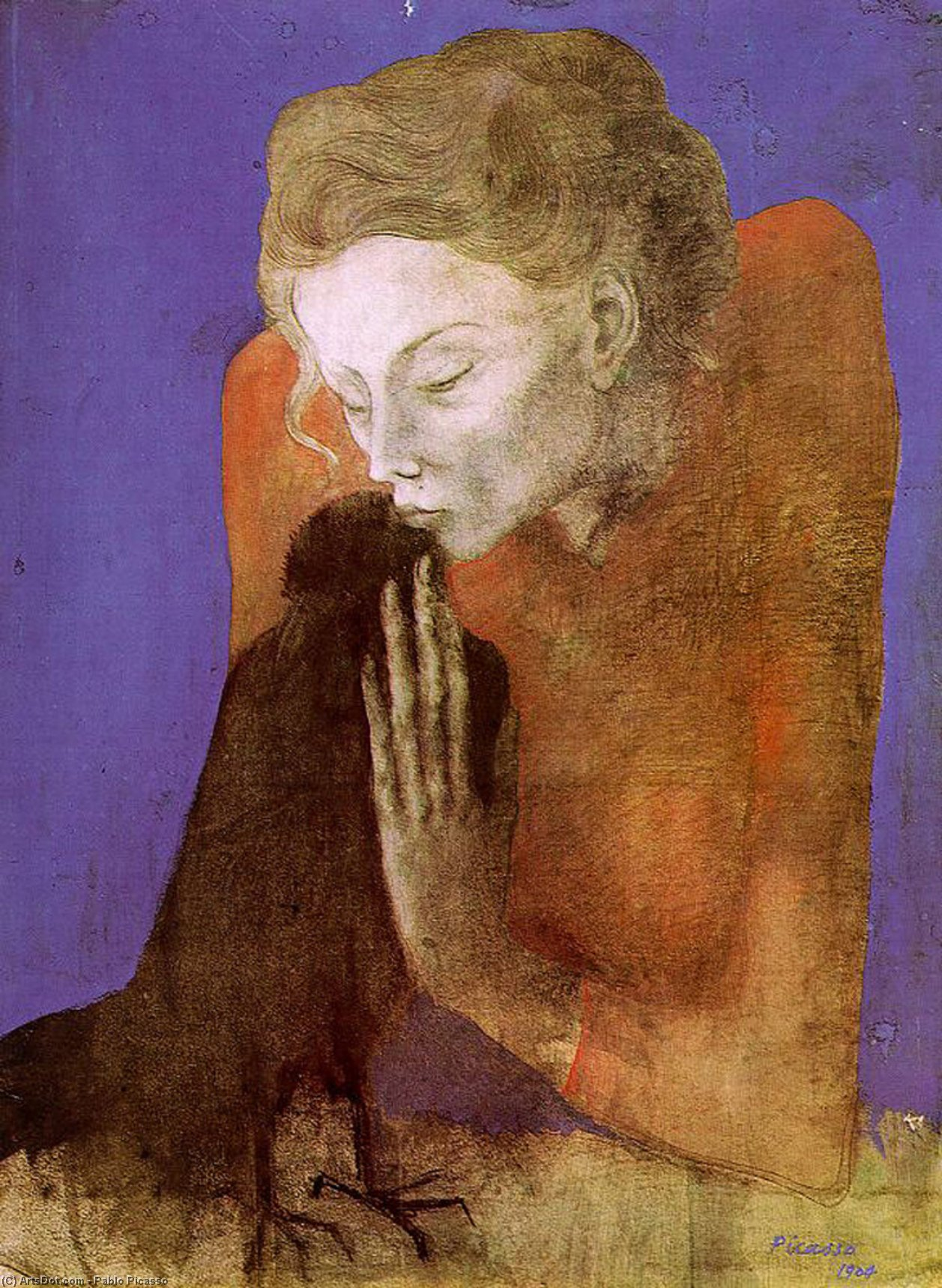 Wikoo.org - موسوعة الفنون الجميلة - اللوحة، العمل الفني Pablo Picasso - Woman with raven