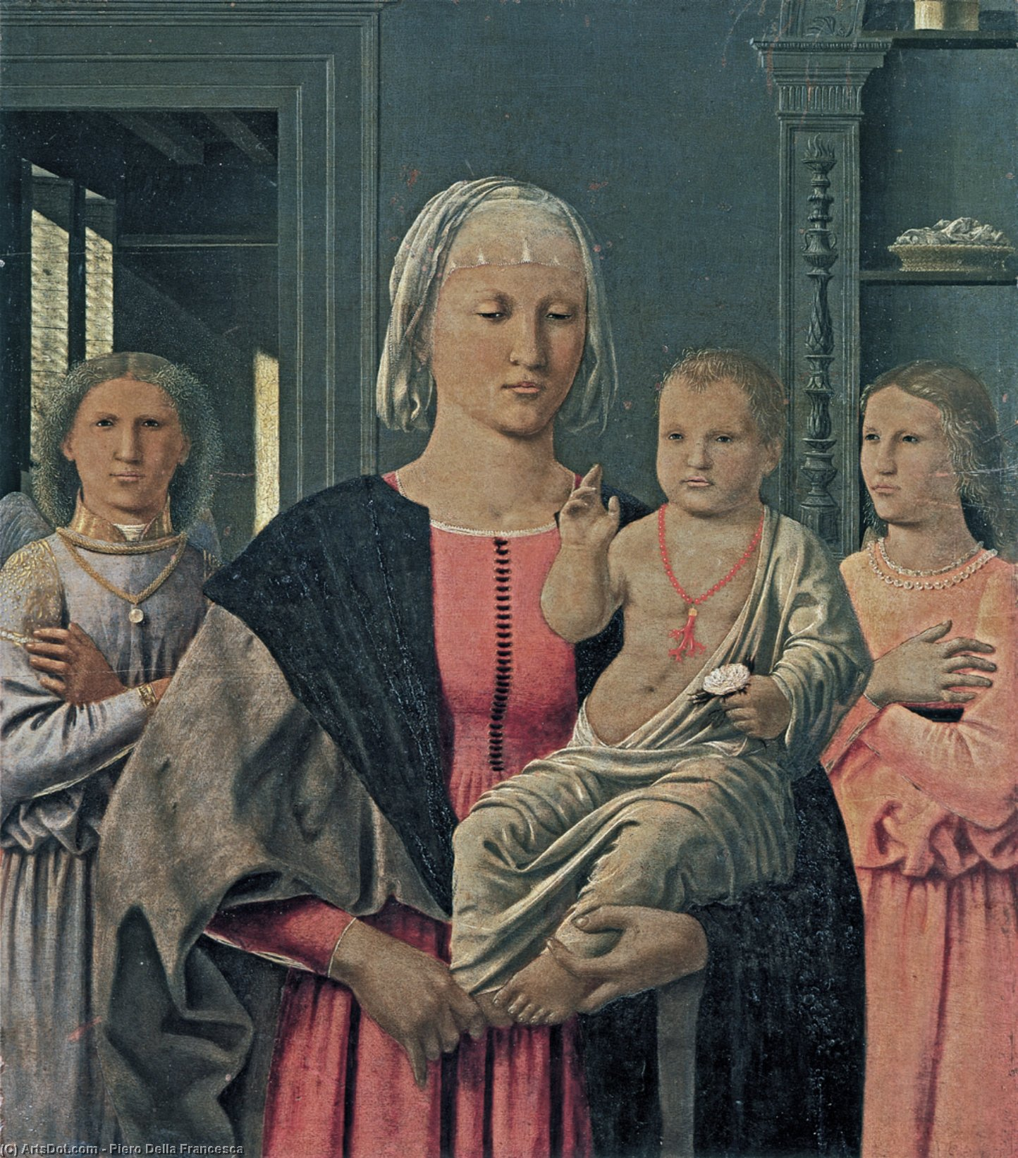 Wikioo.org - The Encyclopedia of Fine Arts - Painting, Artwork by Piero Della Francesca - Madonna of Senigallia with Child and Two Angels