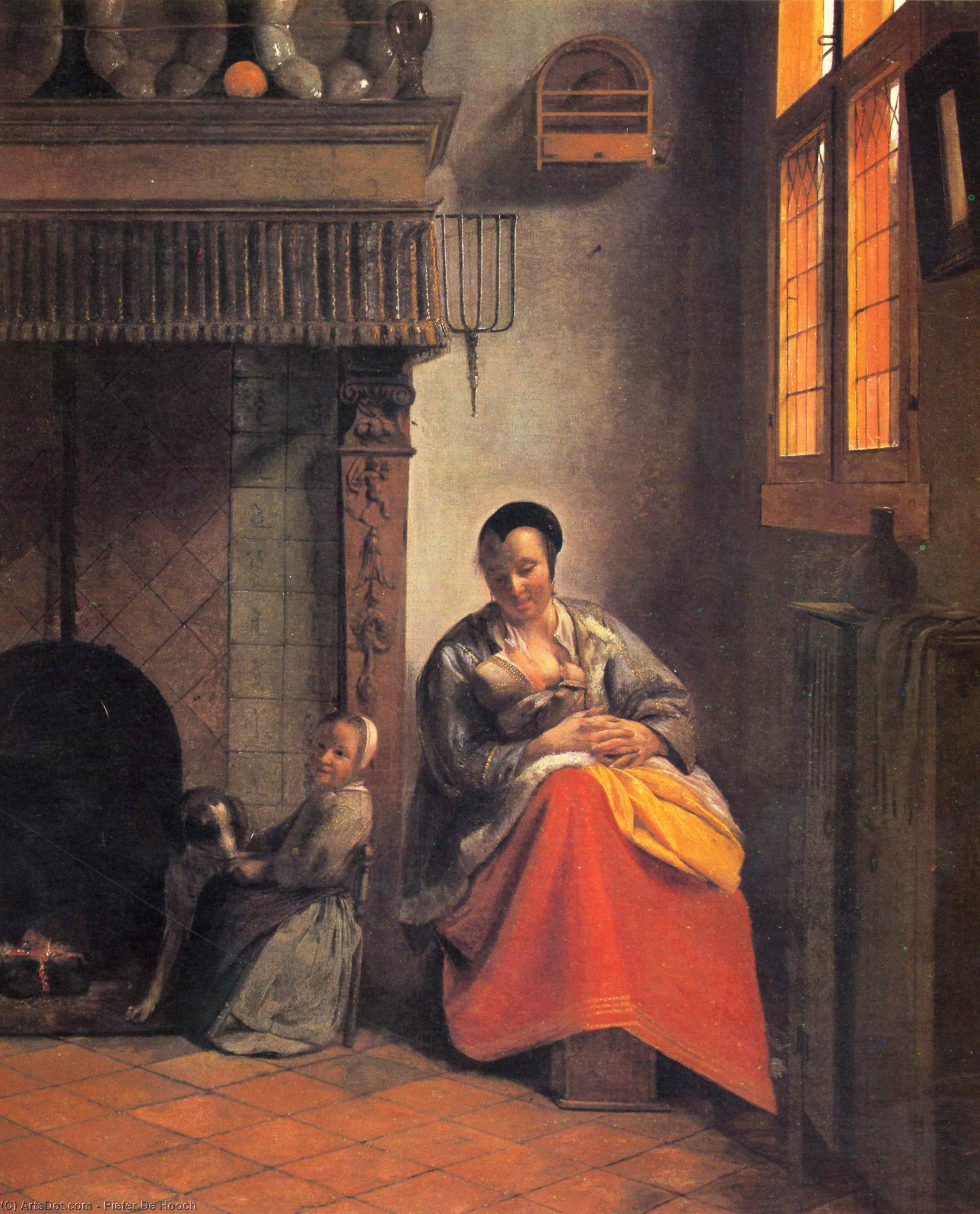 Wikioo.org - The Encyclopedia of Fine Arts - Painting, Artwork by Pieter De Hooch - Nursing mother