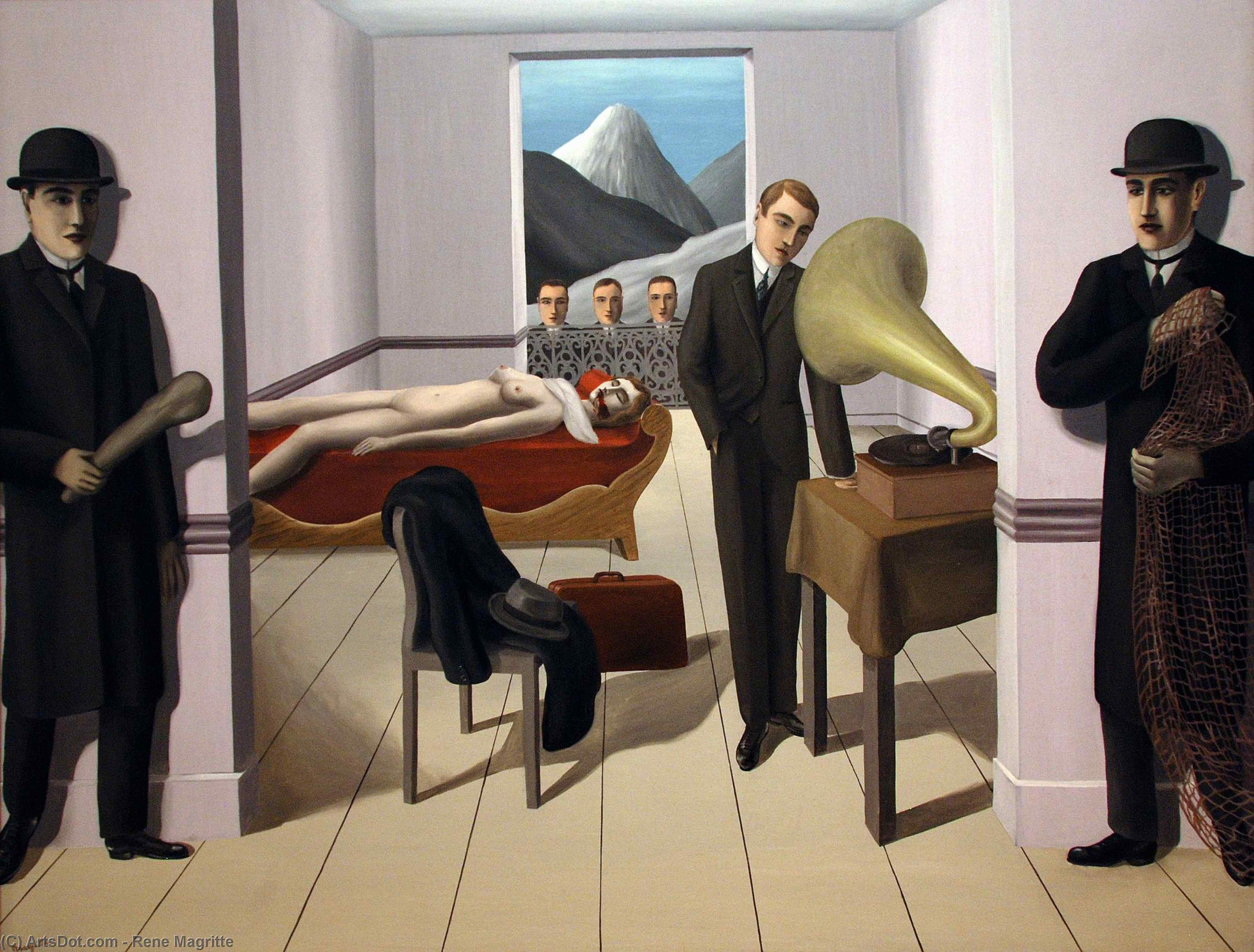 Wikioo.org - The Encyclopedia of Fine Arts - Painting, Artwork by Rene Magritte - The Menaced Assassin