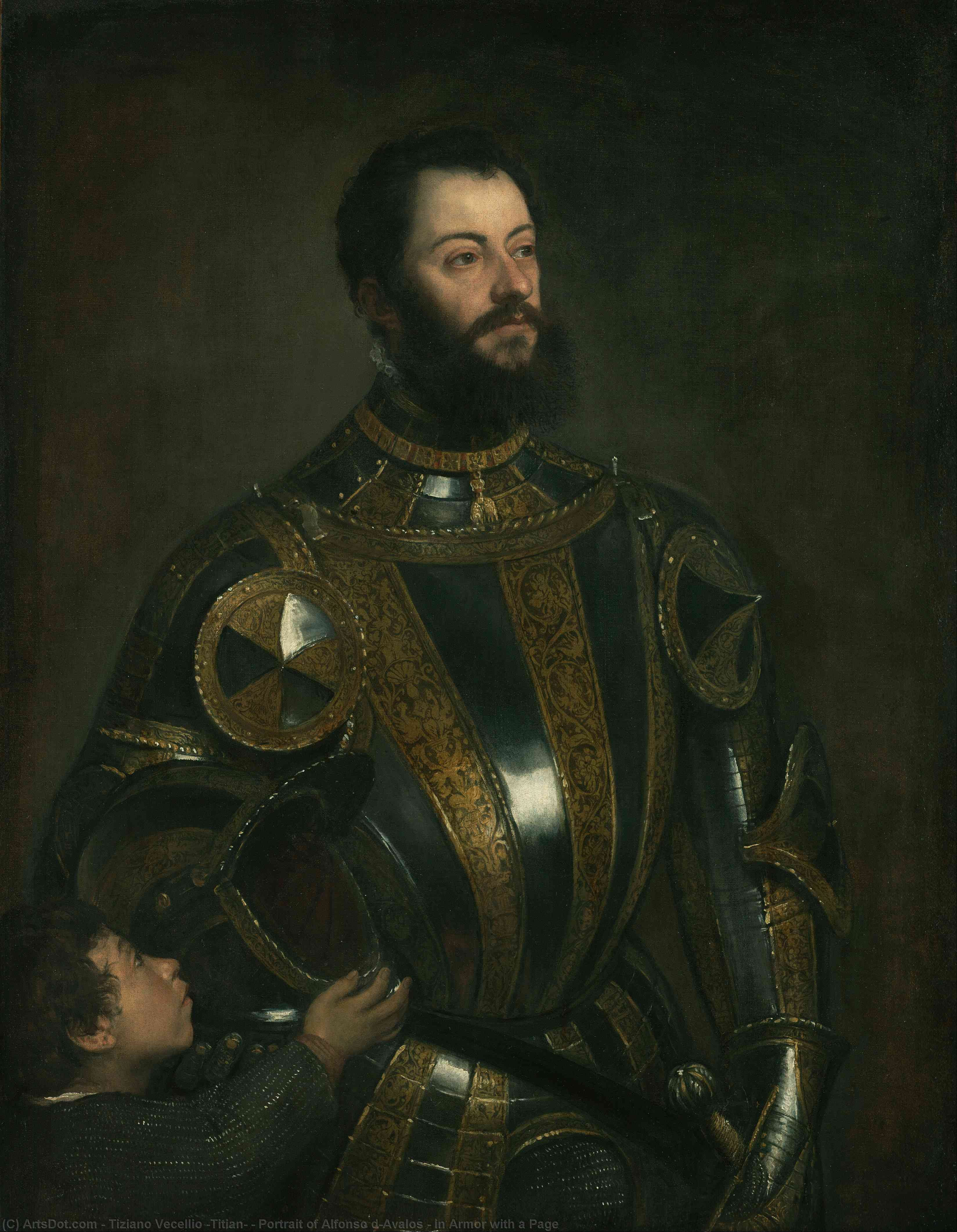 Wikioo.org - The Encyclopedia of Fine Arts - Painting, Artwork by Tiziano Vecellio (Titian) - Portrait of Alfonso d`Avalos , in Armor with a Page