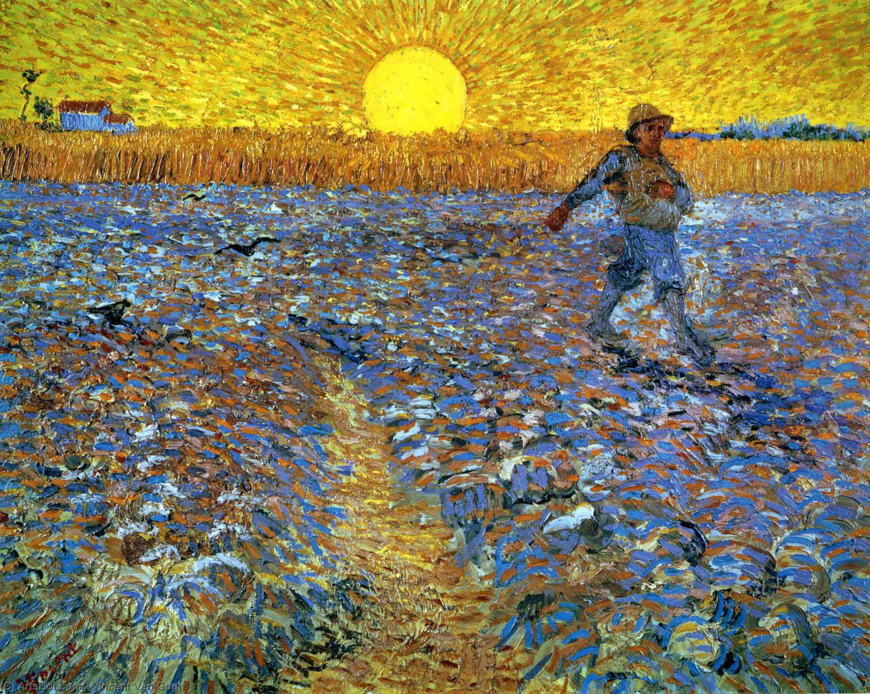 Wikioo.org - The Encyclopedia of Fine Arts - Painting, Artwork by Vincent Van Gogh - The Sower (Sower with Setting Sun)