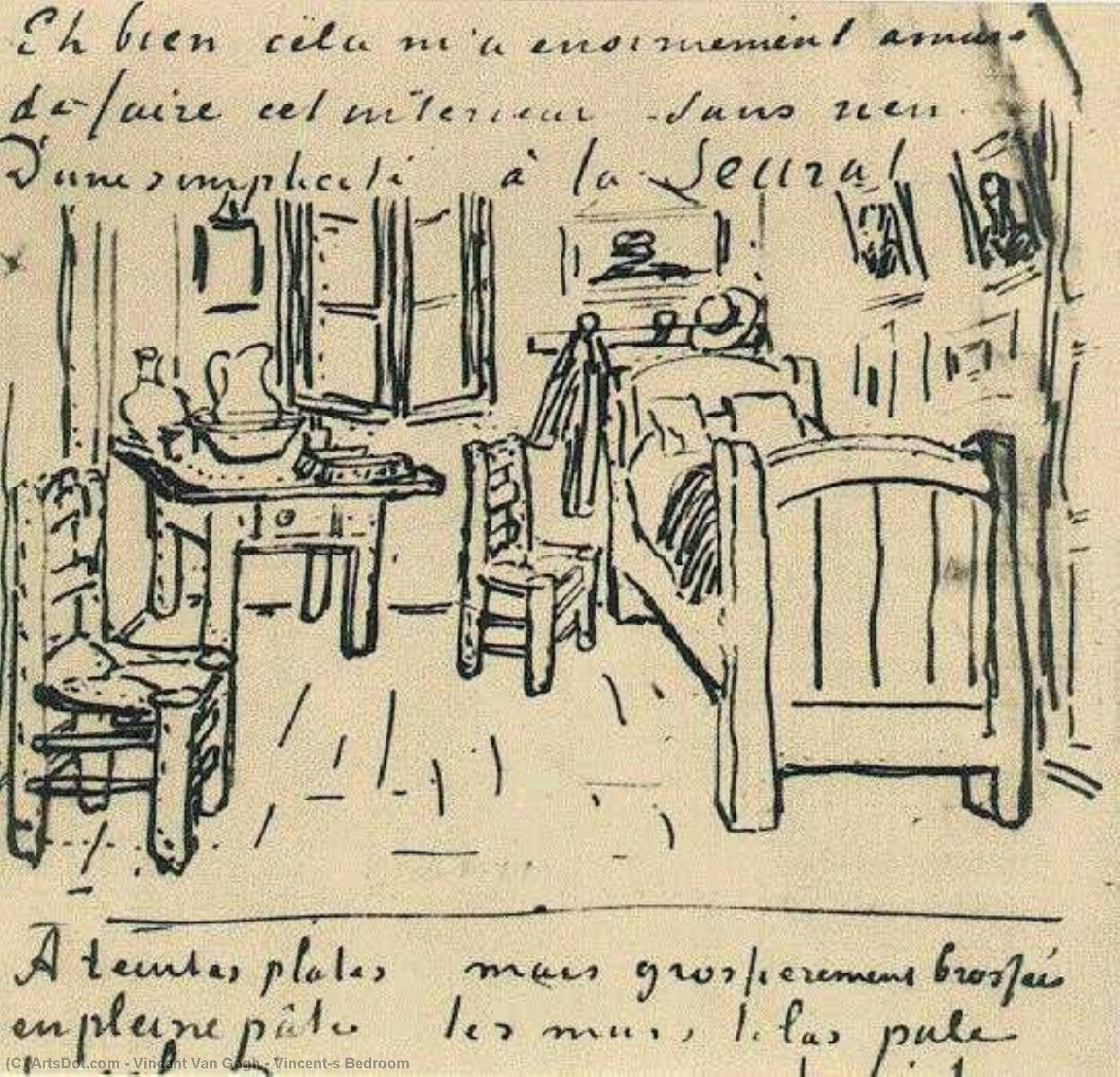 Wikioo.org - The Encyclopedia of Fine Arts - Painting, Artwork by Vincent Van Gogh - Vincent's Bedroom