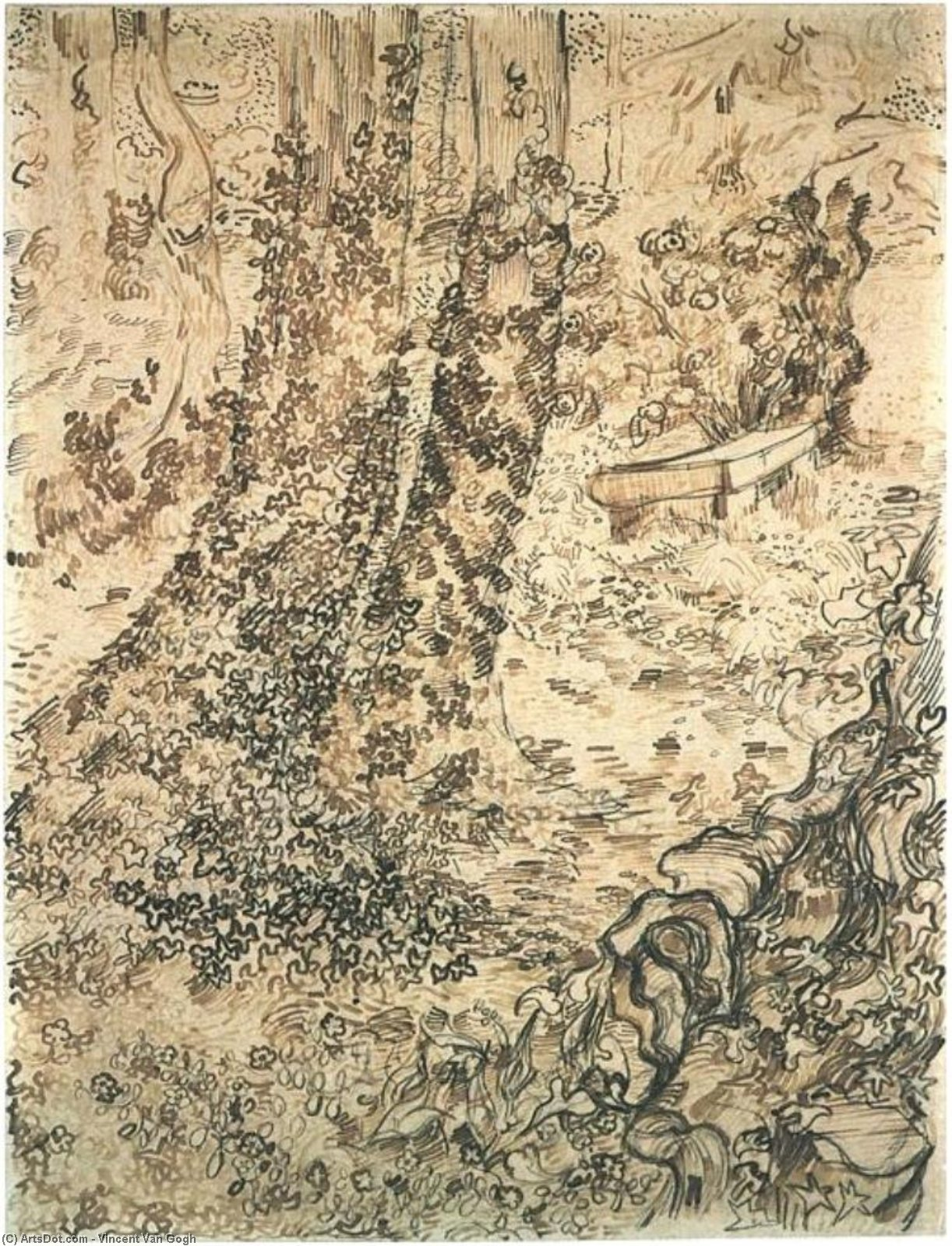 Wikioo.org - The Encyclopedia of Fine Arts - Painting, Artwork by Vincent Van Gogh - Trees with Ivy