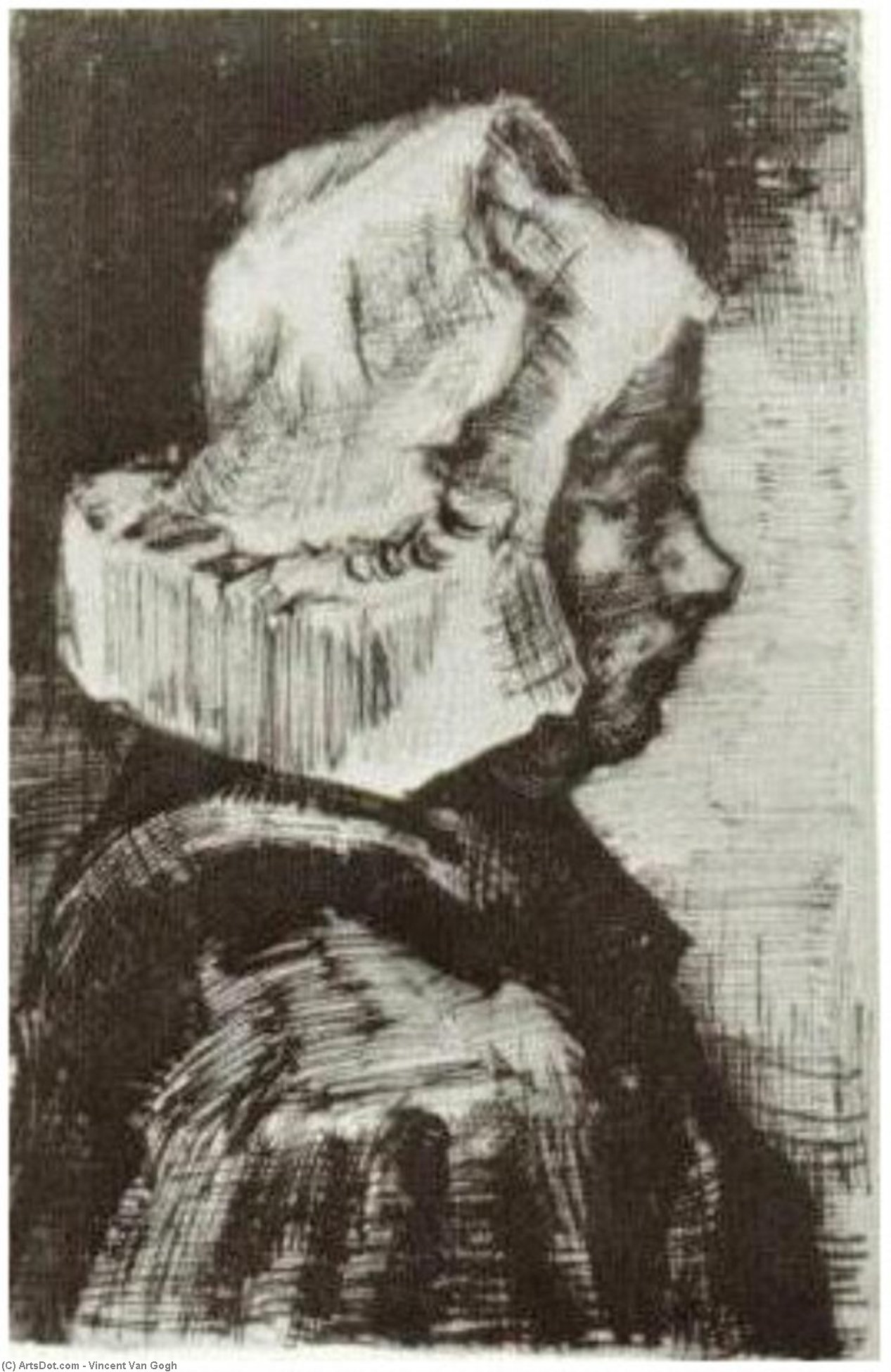 Wikioo.org - The Encyclopedia of Fine Arts - Painting, Artwork by Vincent Van Gogh - Peasant Woman, Head (10)