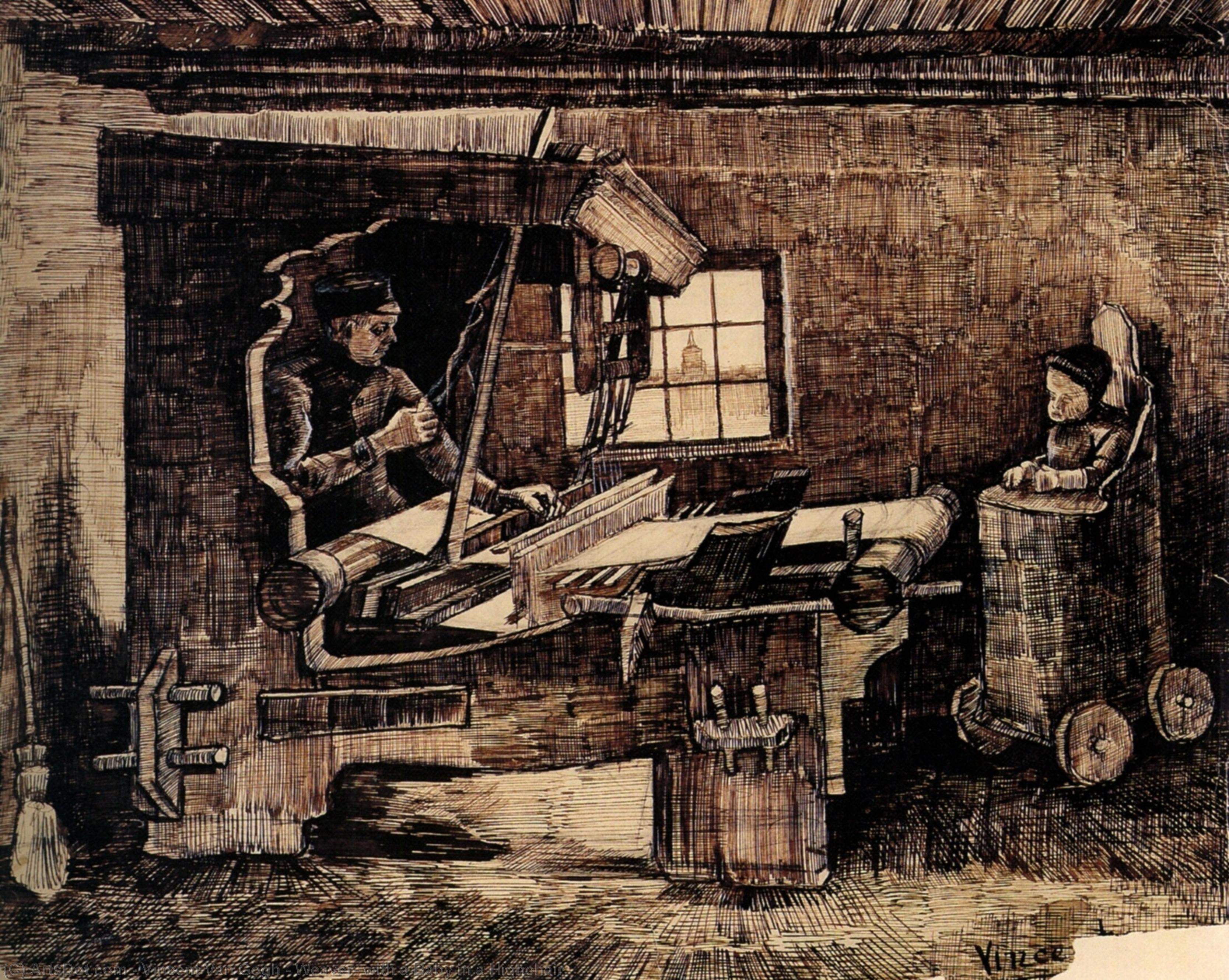 Wikioo.org - The Encyclopedia of Fine Arts - Painting, Artwork by Vincent Van Gogh - Weaver, with a Baby in a Highchair