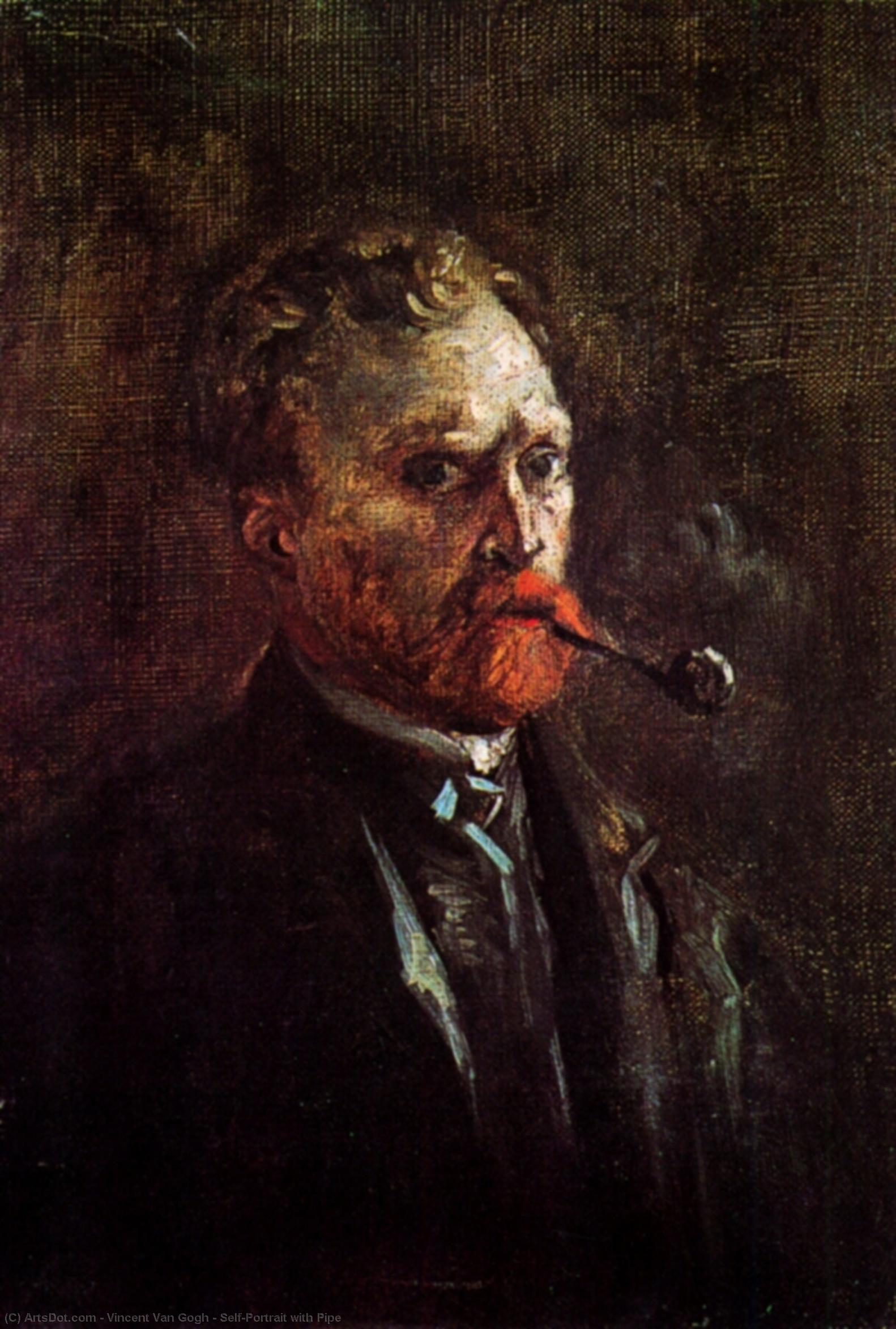 Wikioo.org - The Encyclopedia of Fine Arts - Painting, Artwork by Vincent Van Gogh - Self-Portrait with Pipe