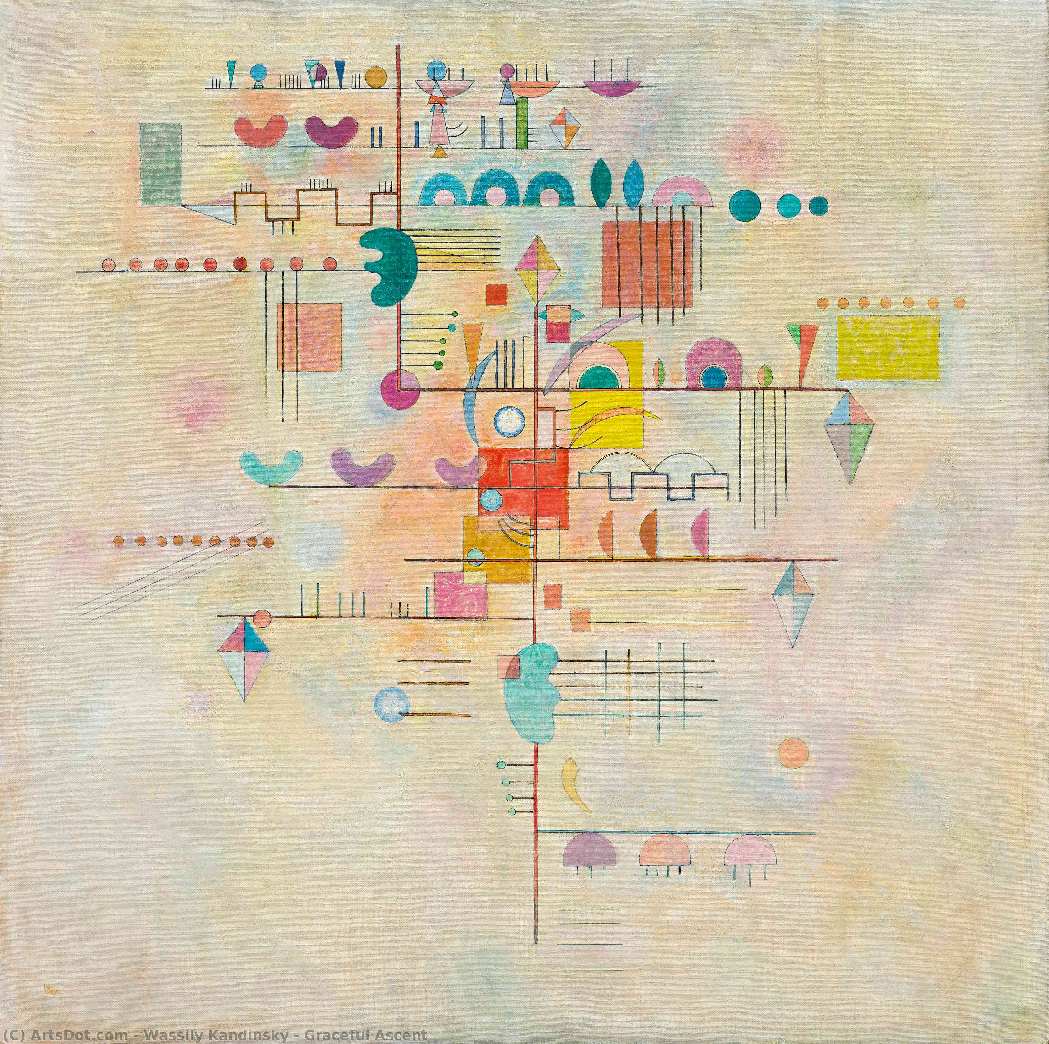 Wikioo.org - The Encyclopedia of Fine Arts - Painting, Artwork by Wassily Kandinsky - Graceful Ascent