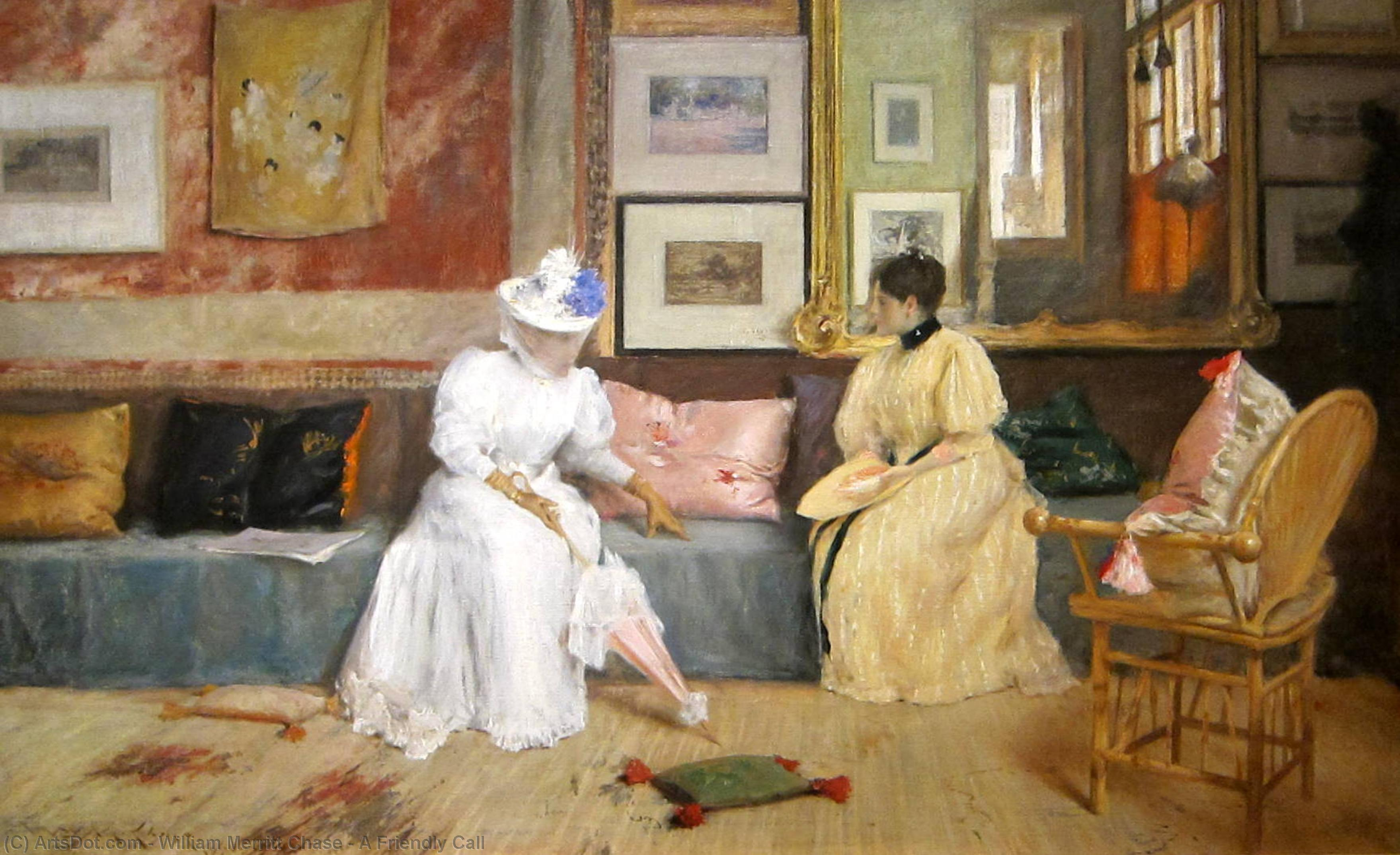 Wikioo.org - The Encyclopedia of Fine Arts - Painting, Artwork by William Merritt Chase - A Friendly Call