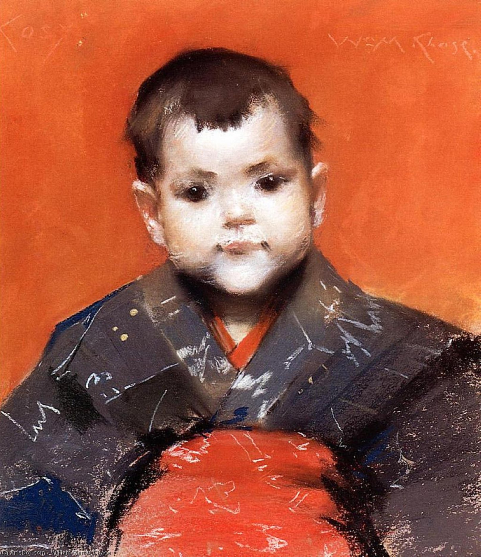Wikioo.org - The Encyclopedia of Fine Arts - Painting, Artwork by William Merritt Chase - My Baby (aka Cosy)