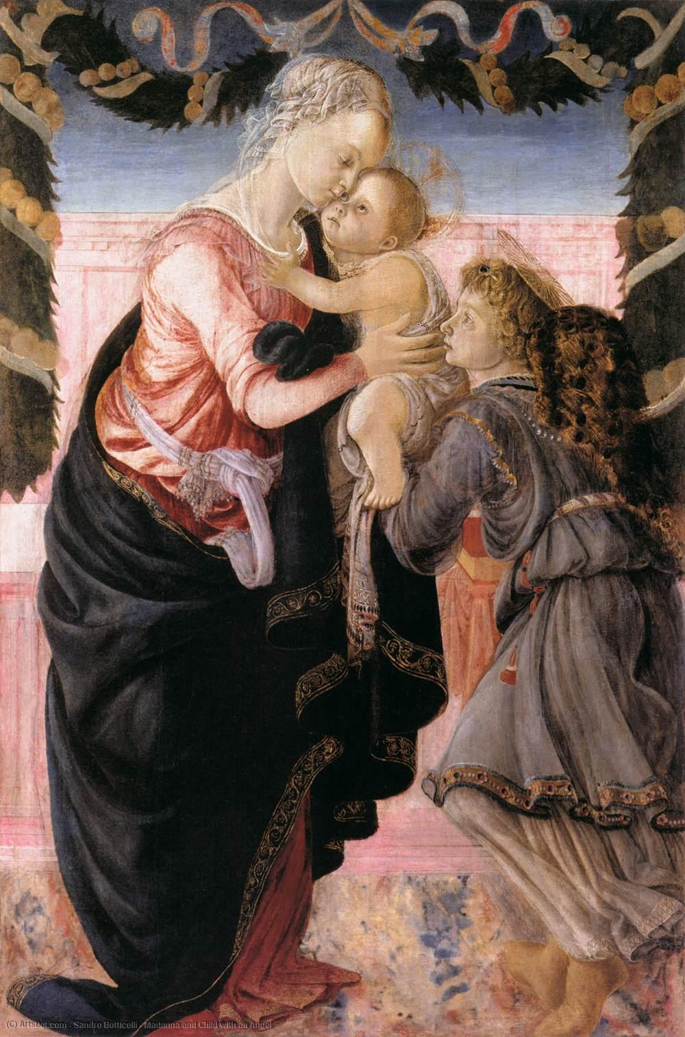 Wikioo.org - The Encyclopedia of Fine Arts - Painting, Artwork by Sandro Botticelli - Madonna and Child with an Angel