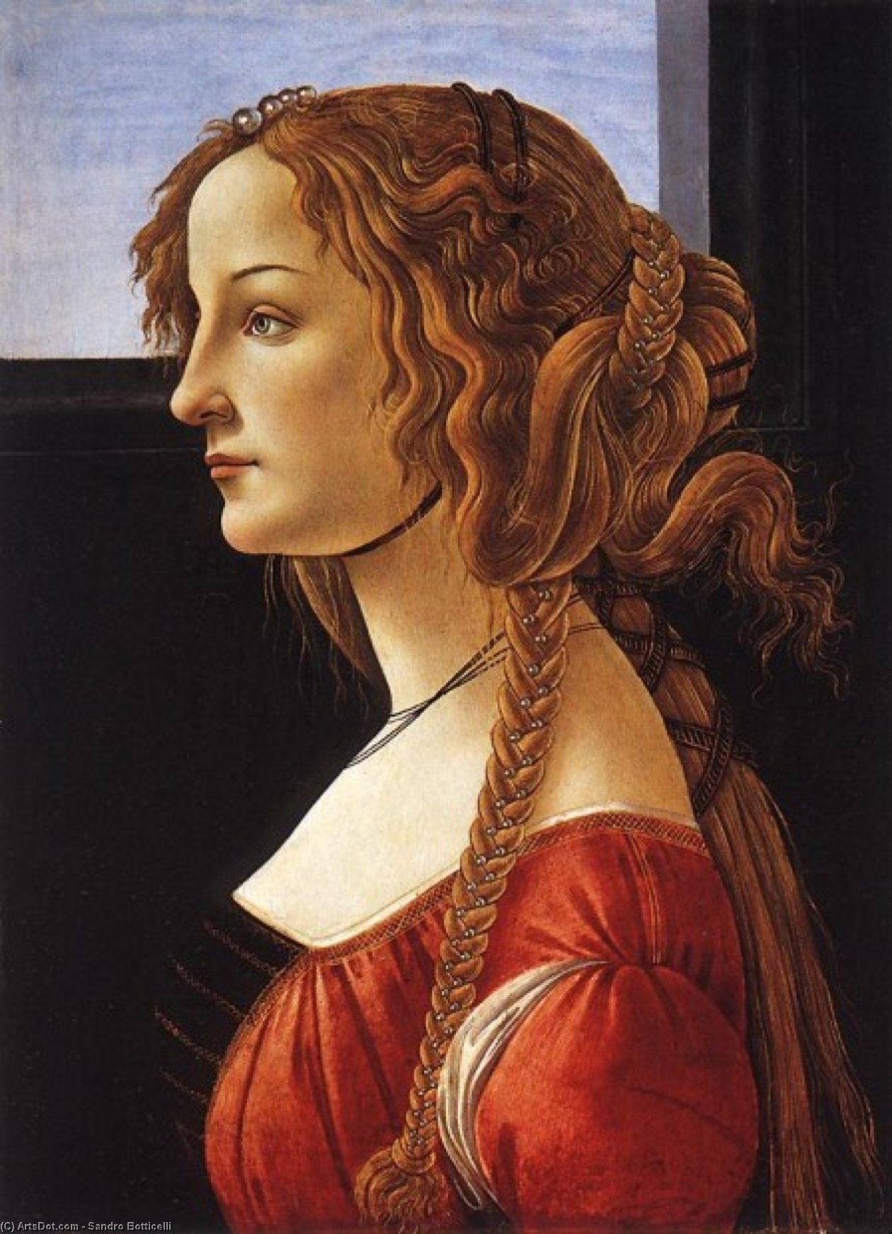 Wikioo.org - The Encyclopedia of Fine Arts - Painting, Artwork by Sandro Botticelli - Portrait of a Young Woman