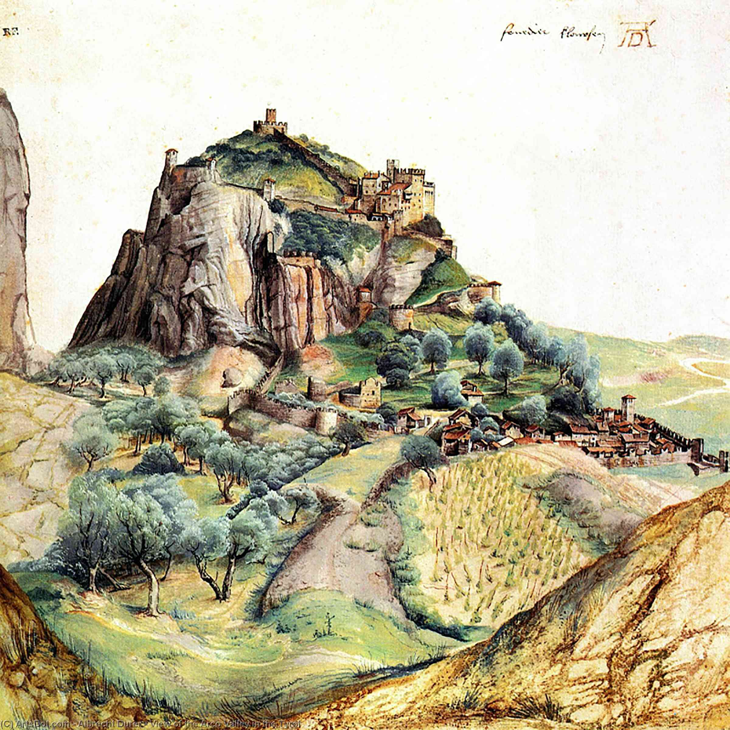 Wikioo.org - The Encyclopedia of Fine Arts - Painting, Artwork by Albrecht Durer - View of the Arco Valley in the Tyrol