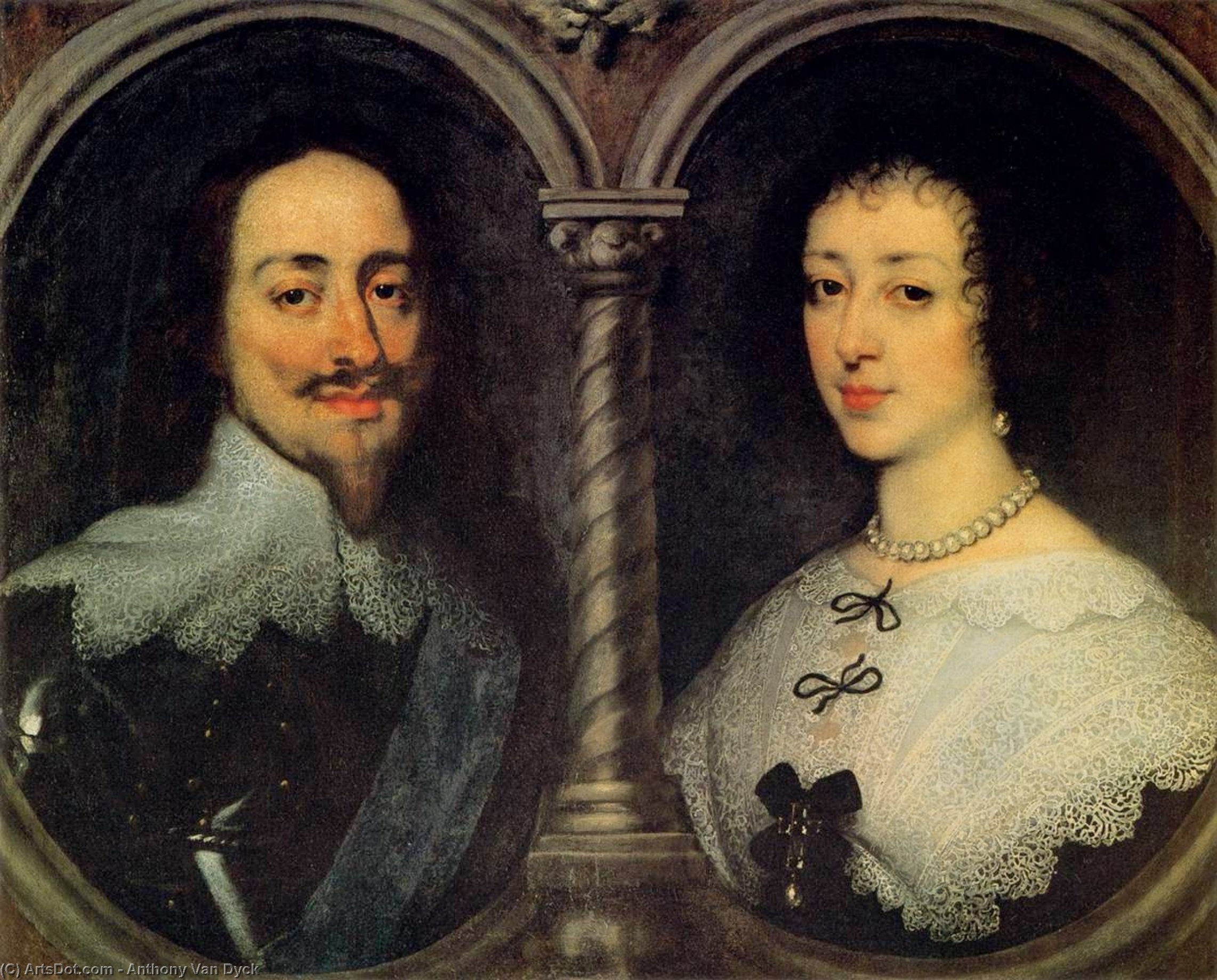 Wikioo.org - The Encyclopedia of Fine Arts - Painting, Artwork by Anthony Van Dyck - Charles I of England and Henrietta of France