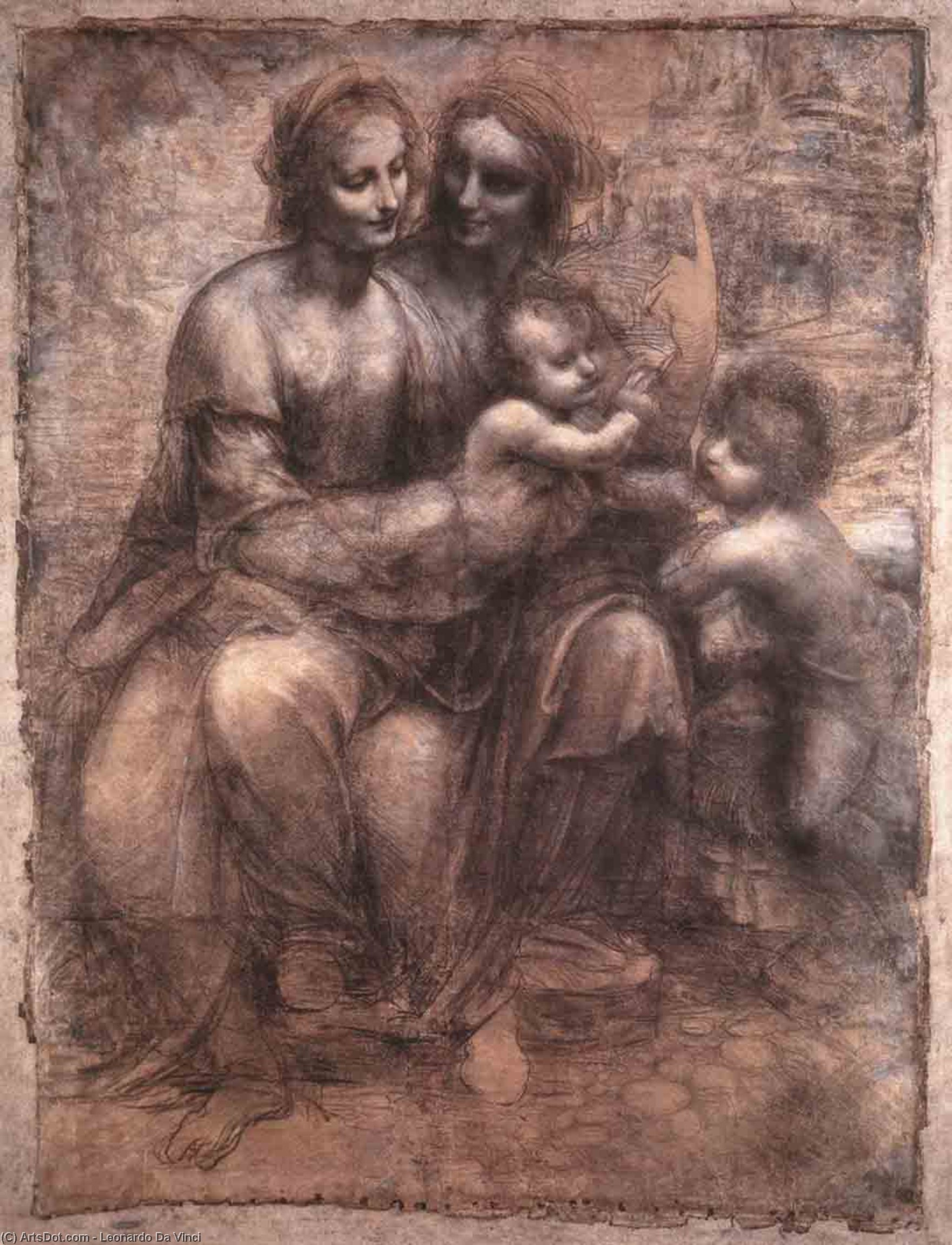 Wikioo.org - The Encyclopedia of Fine Arts - Painting, Artwork by Leonardo Da Vinci - Madonna and Child with St Anne and the Young St John