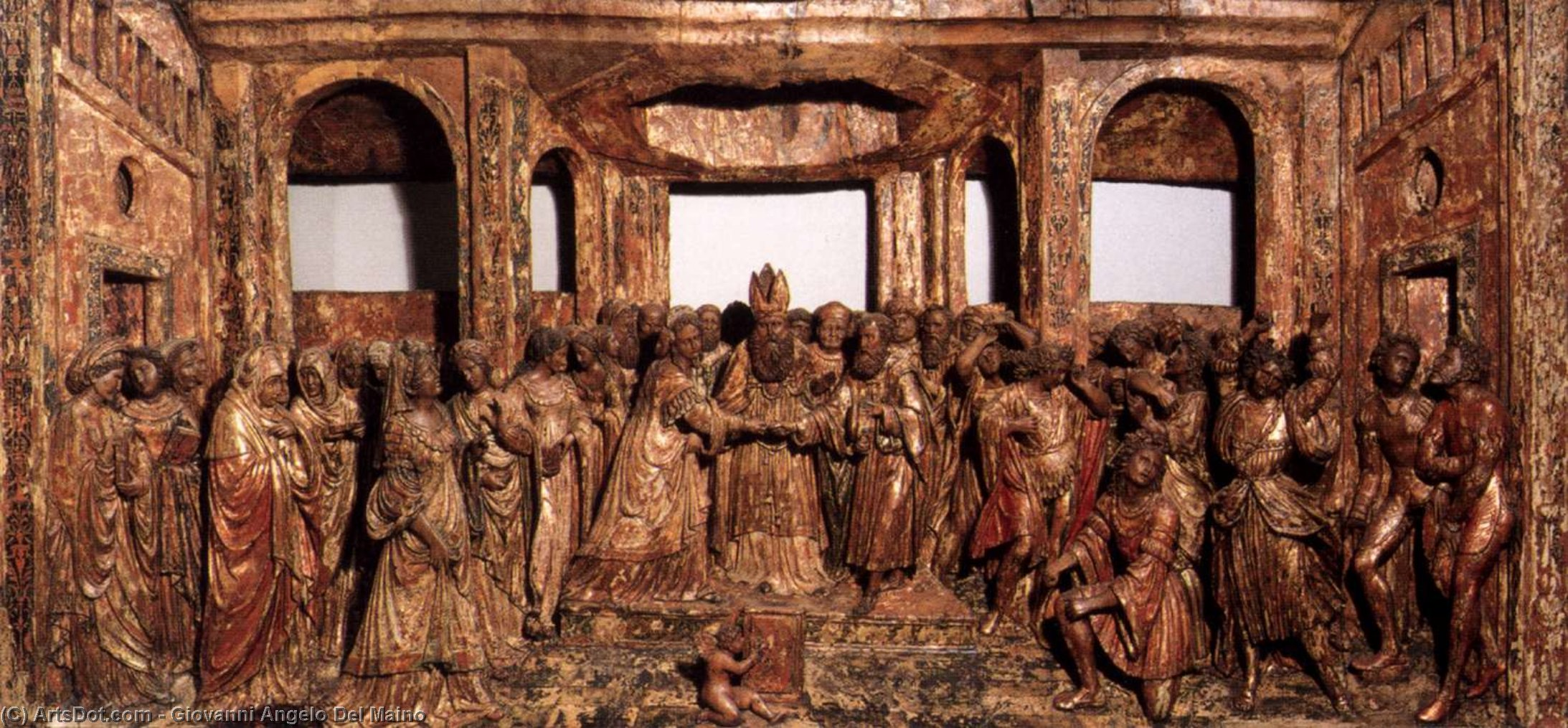Wikioo.org - The Encyclopedia of Fine Arts - Painting, Artwork by Giovanni Angelo Del Maino - The Marriage of the Virgin