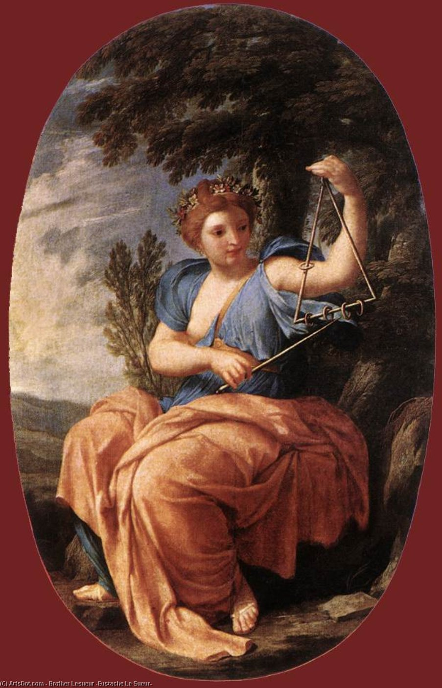Wikioo.org - The Encyclopedia of Fine Arts - Painting, Artwork by Brother Lesueur (Eustache Le Sueur) - The Muse Terpsichore