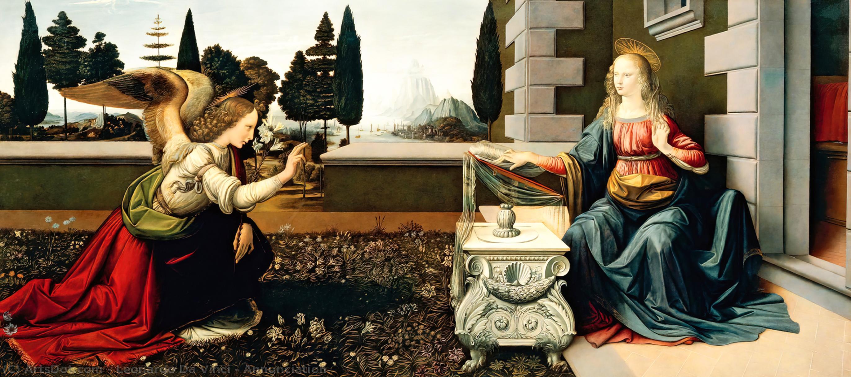 Wikioo.org - The Encyclopedia of Fine Arts - Painting, Artwork by Leonardo Da Vinci - Annunciation