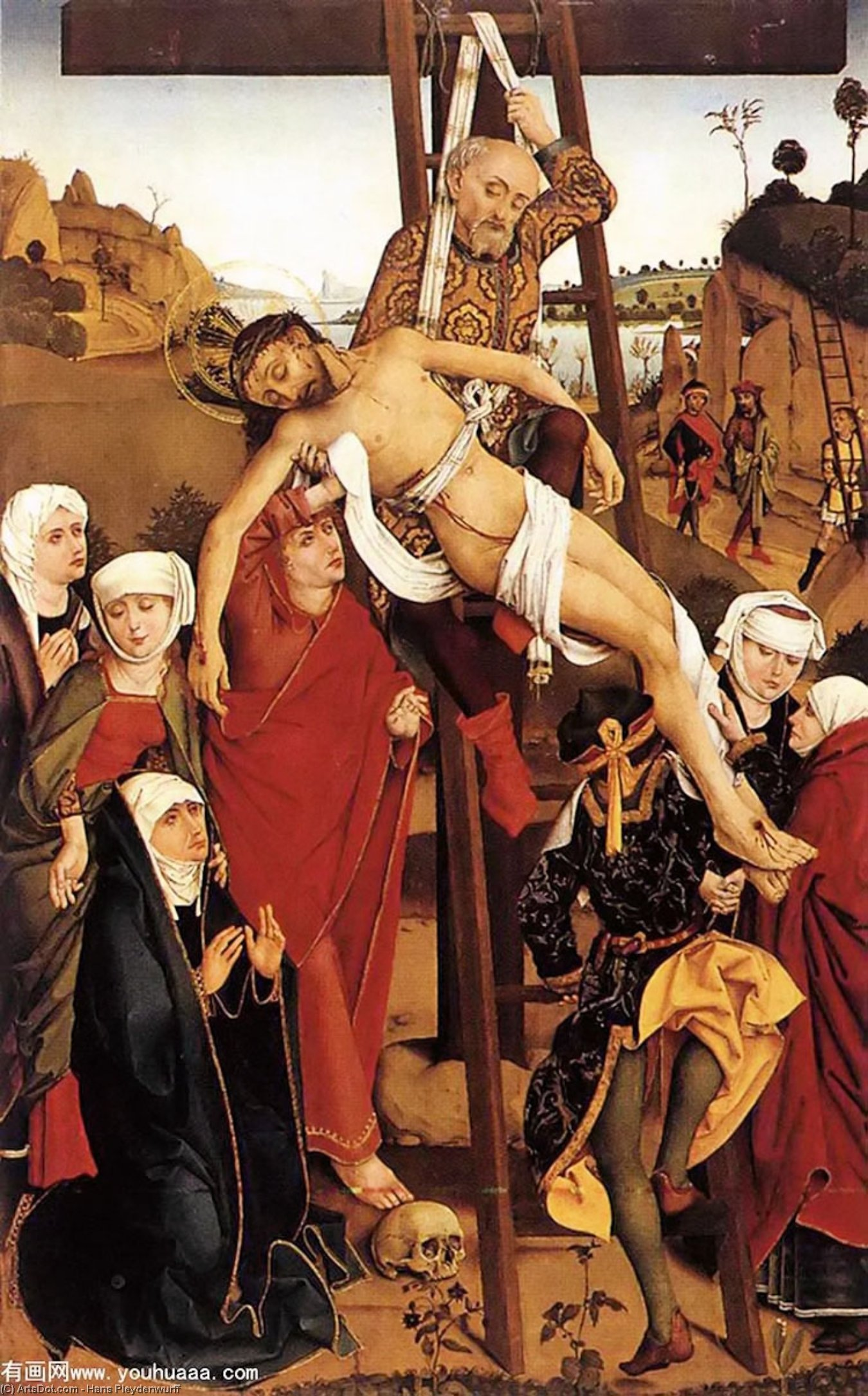 Wikioo.org - The Encyclopedia of Fine Arts - Painting, Artwork by Hans Pleydenwurff - Crucifixion of the Hof Altarpiece