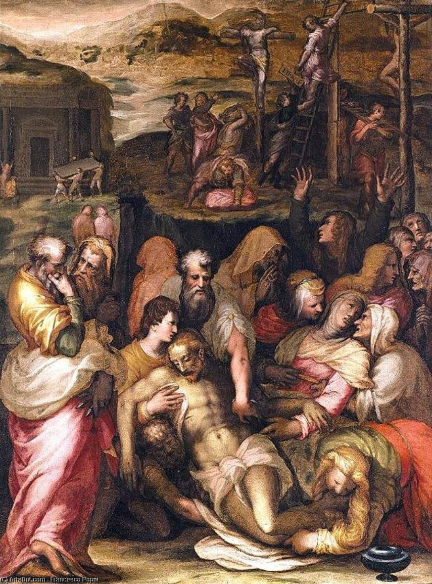 Wikioo.org - The Encyclopedia of Fine Arts - Painting, Artwork by Francesco Poppi - Lamentation over the Dead Christ