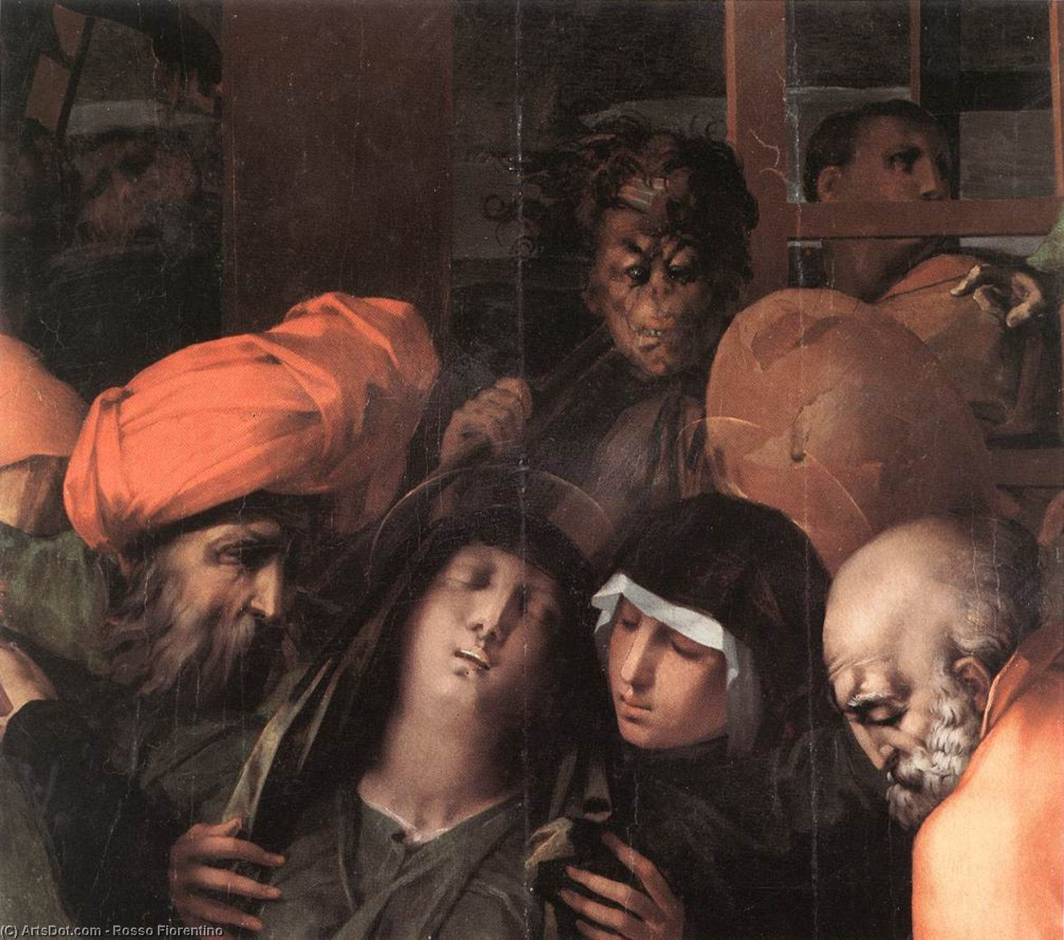 Wikioo.org - The Encyclopedia of Fine Arts - Painting, Artwork by Rosso Fiorentino - Deposition from the Cross (detail)