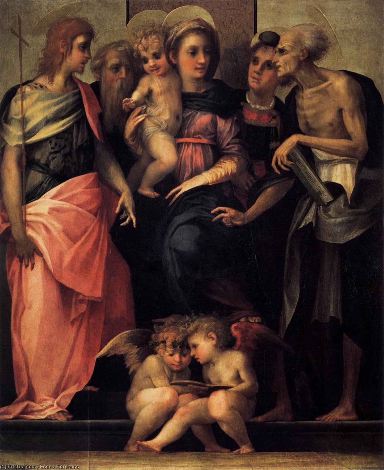 Wikioo.org - The Encyclopedia of Fine Arts - Painting, Artwork by Rosso Fiorentino - Madonna Enthroned with Four Saints