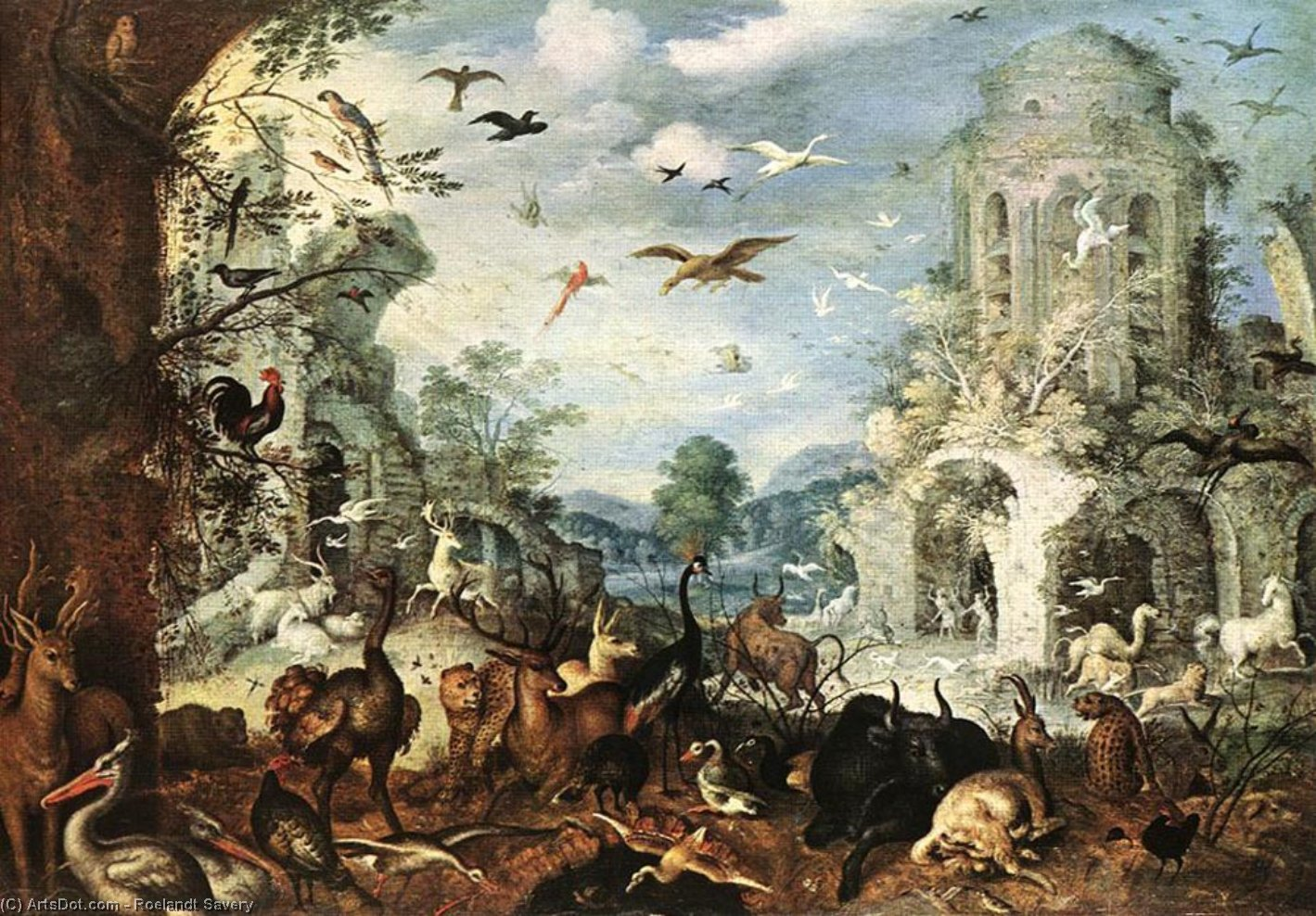 Wikioo.org - The Encyclopedia of Fine Arts - Painting, Artwork by Roelandt Savery - Landscape with Wild Beasts