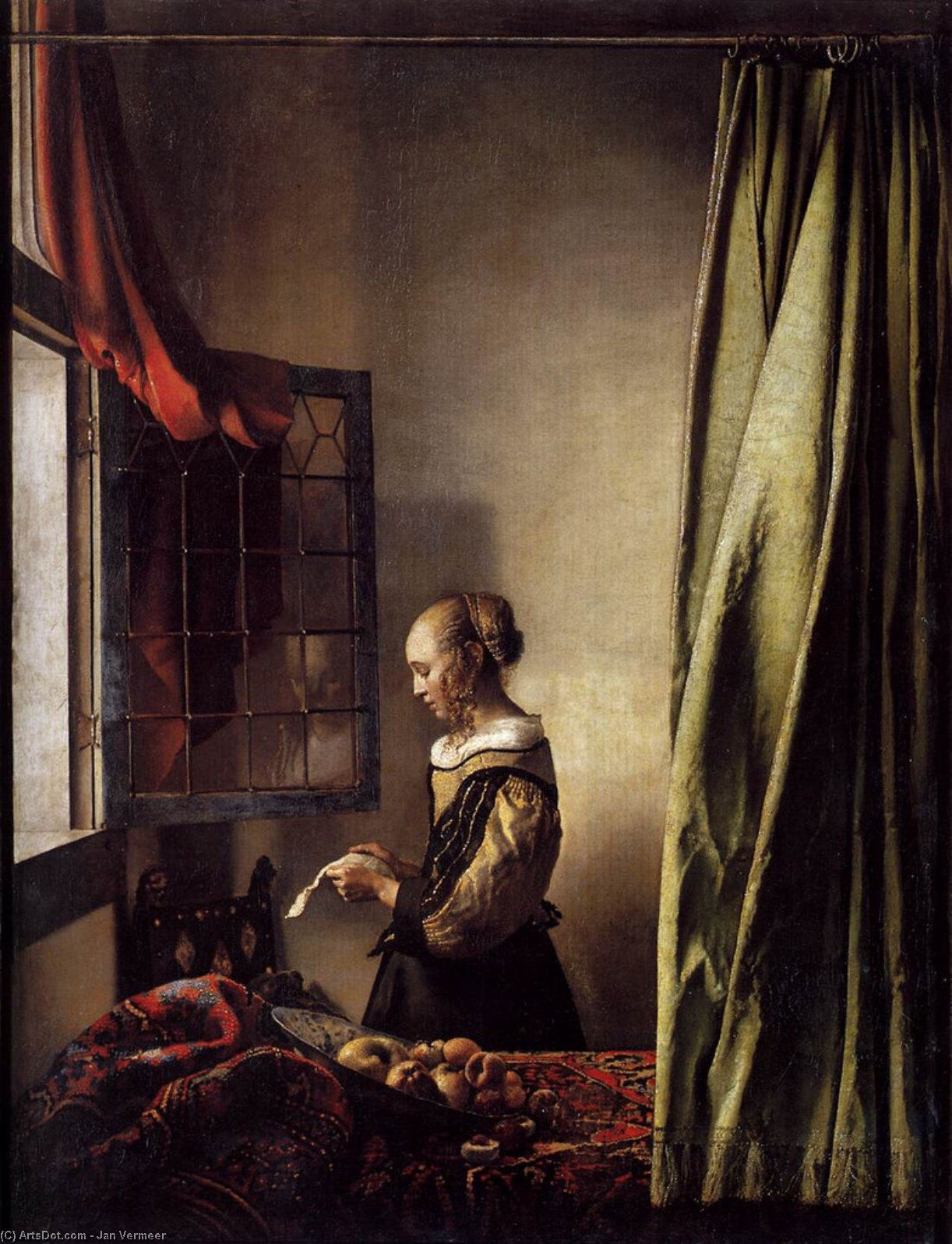 Wikioo.org - The Encyclopedia of Fine Arts - Painting, Artwork by Jan Vermeer - Girl Reading a Letter at an Open Window