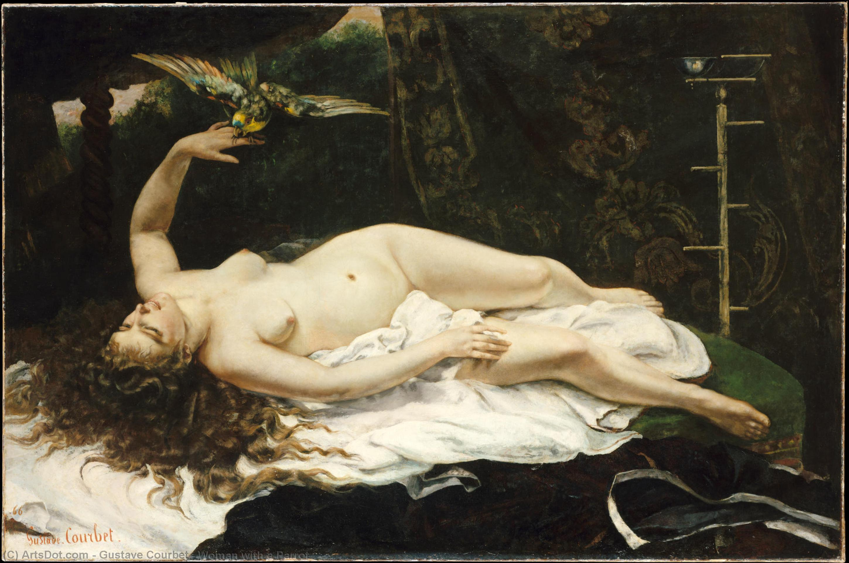 Woman with a Parrot - Gustave Courbet