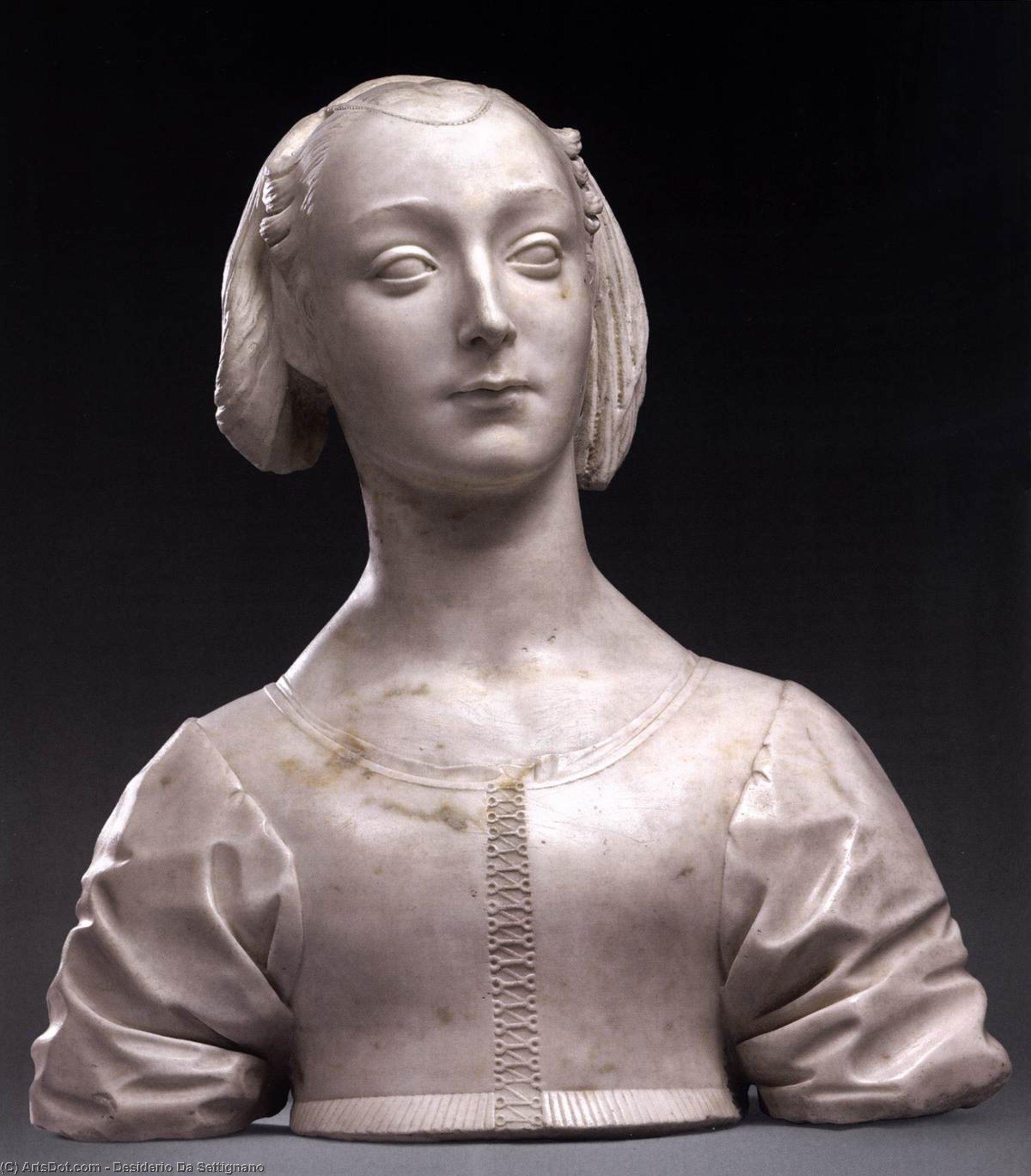Wikioo.org - The Encyclopedia of Fine Arts - Painting, Artwork by Desiderio Da Settignano - Portrait of Marietta Strozzi