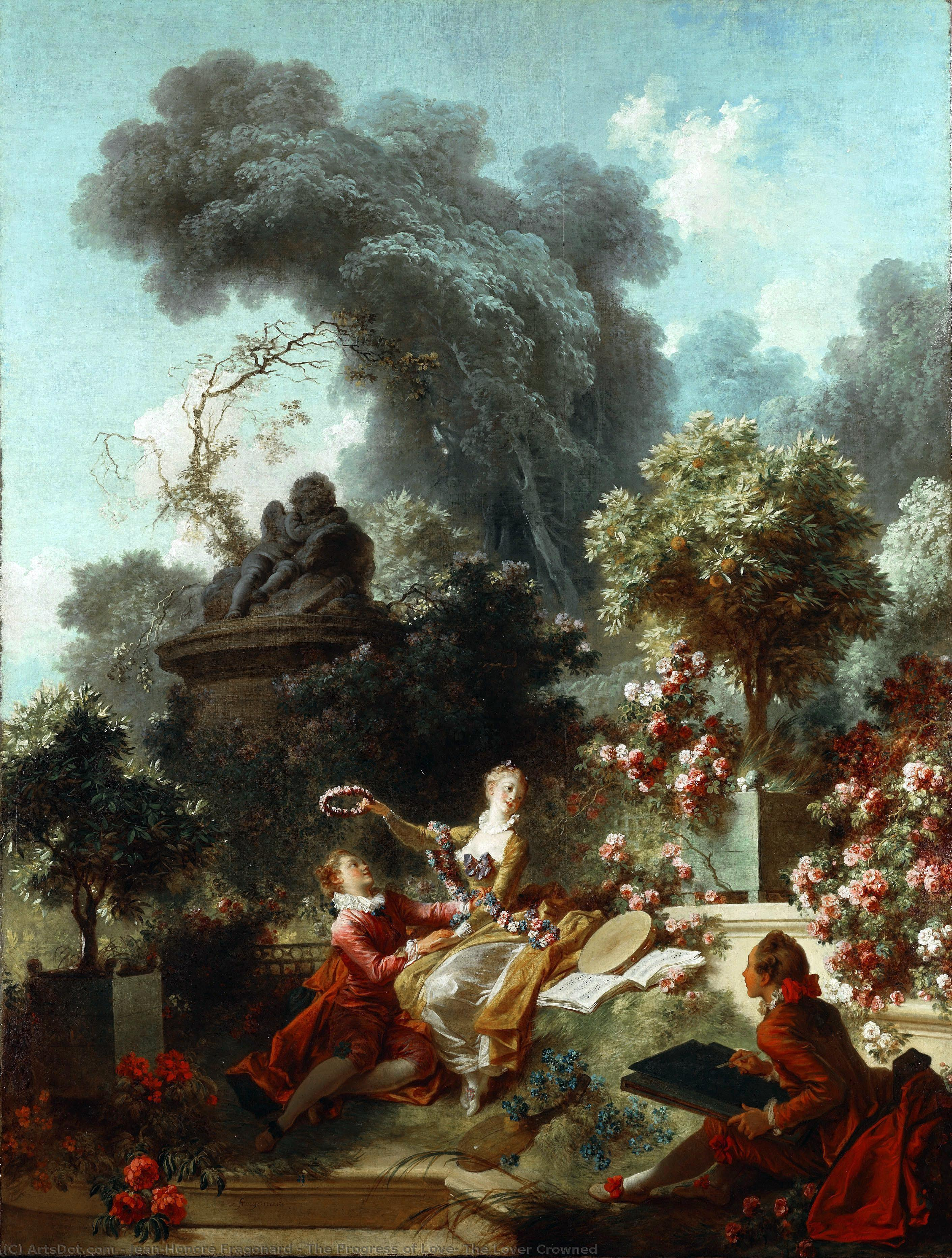 Wikioo.org - The Encyclopedia of Fine Arts - Painting, Artwork by Jean-Honoré Fragonard - The Progress of Love: The Lover Crowned
