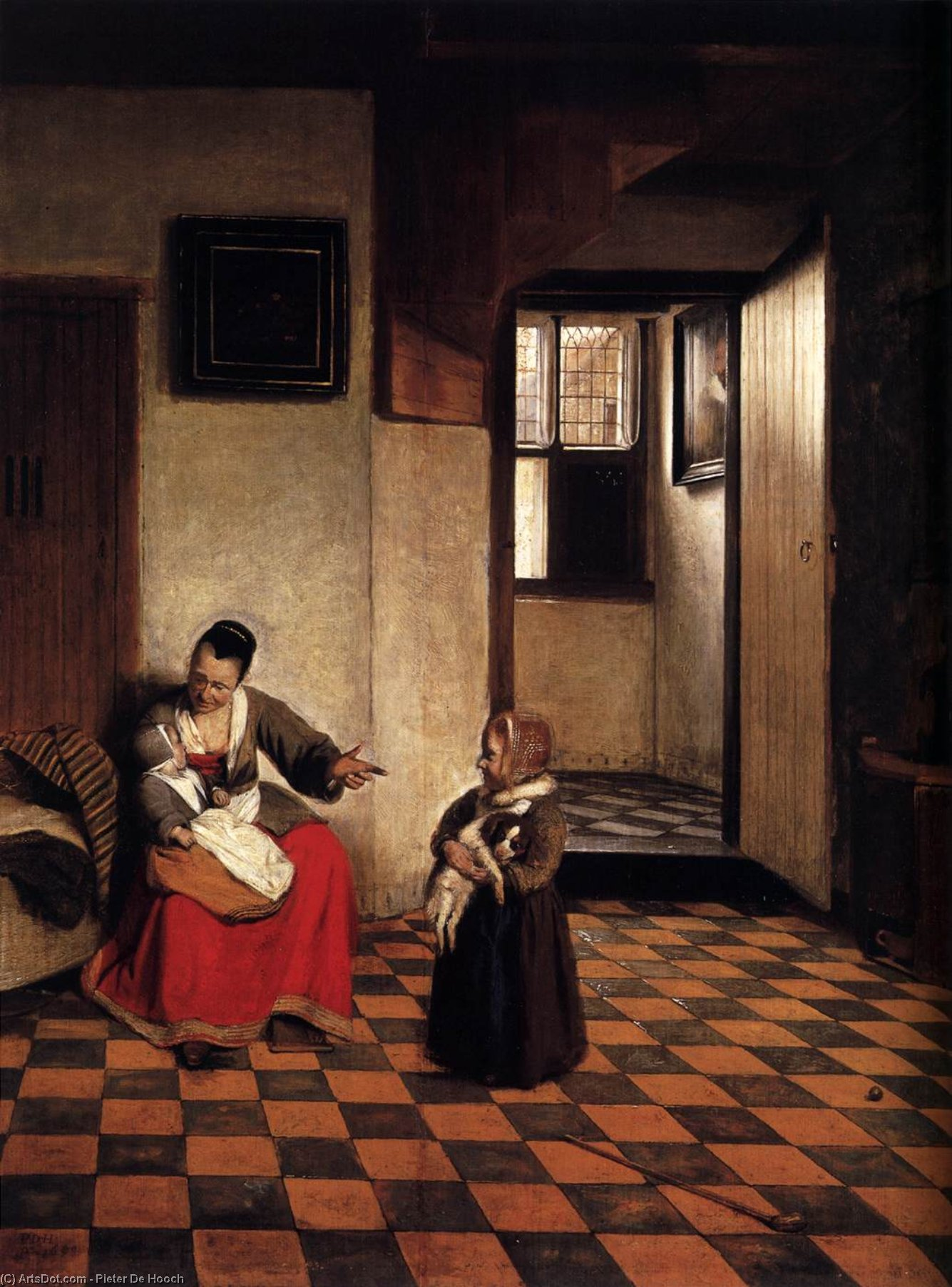 Wikioo.org - The Encyclopedia of Fine Arts - Painting, Artwork by Pieter De Hooch - A Woman with a Baby in Her Lap, and a Small Child