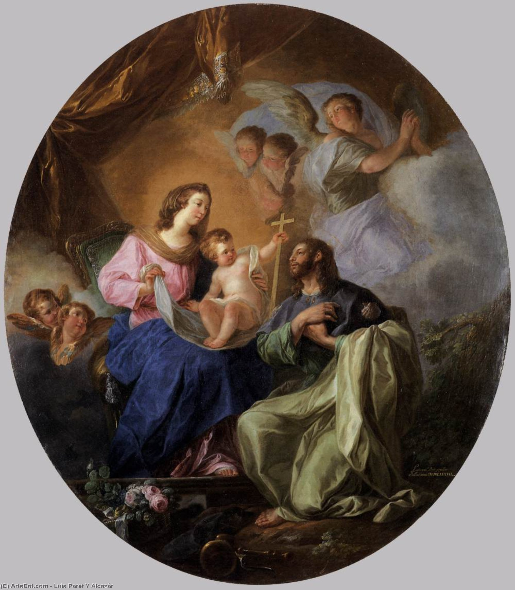 Wikioo.org - The Encyclopedia of Fine Arts - Painting, Artwork by Luis Paret Y Alcázar - Virgin and Child with St James the Great
