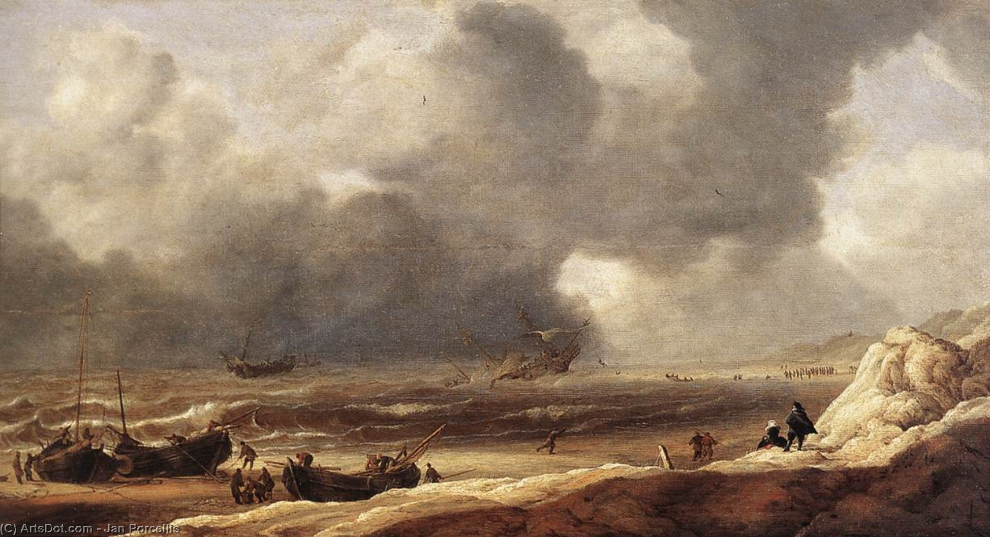 Wikioo.org - The Encyclopedia of Fine Arts - Painting, Artwork by Jan Porcellis - Shipwreck on a Beach