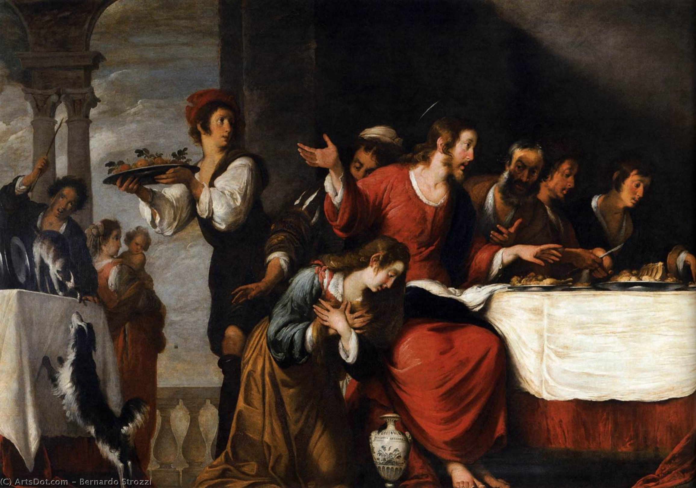 Wikioo.org - The Encyclopedia of Fine Arts - Painting, Artwork by Bernardo Strozzi - Banquet at the House of Simon (detail)