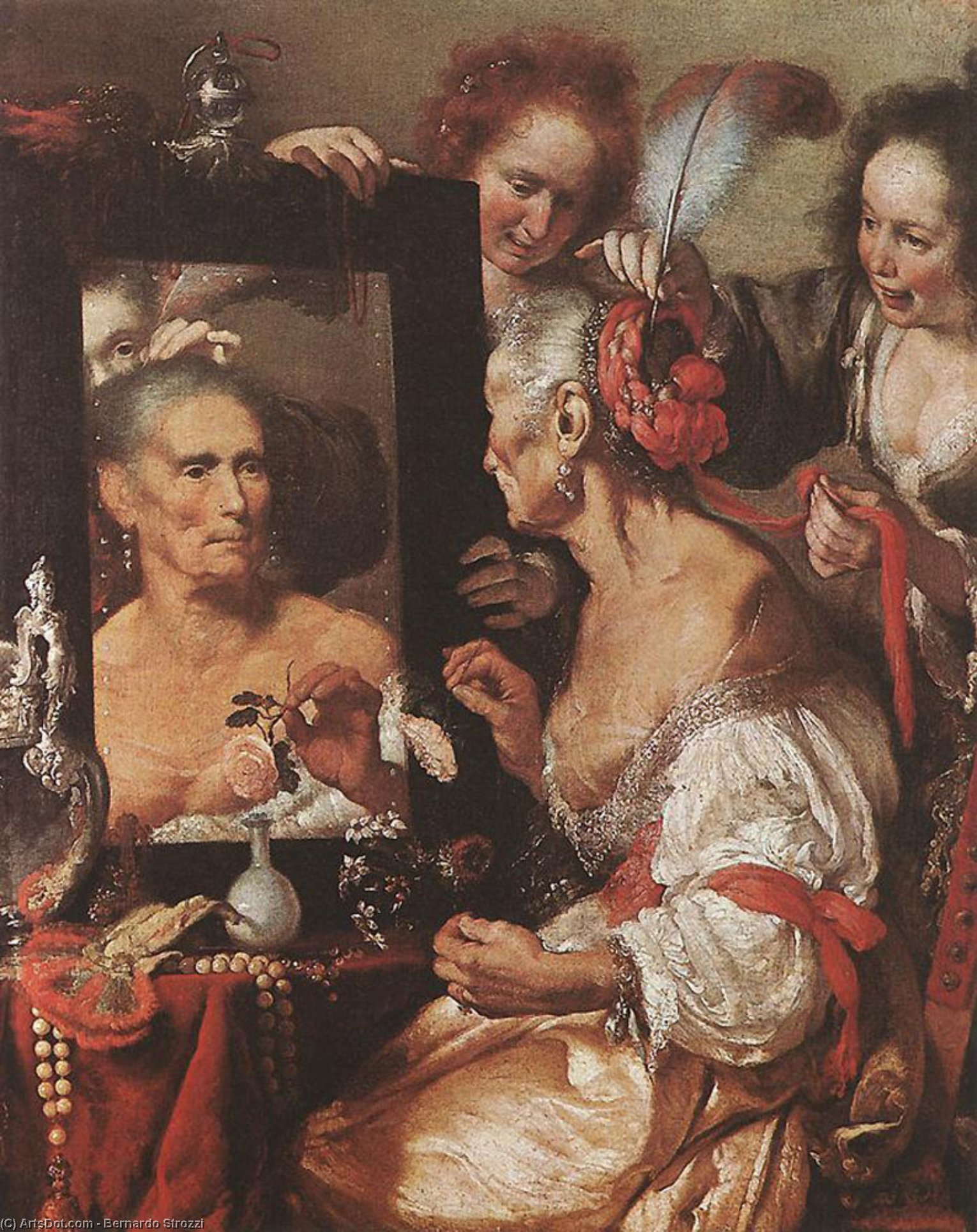 Wikioo.org - The Encyclopedia of Fine Arts - Painting, Artwork by Bernardo Strozzi - Old Woman at the Mirror
